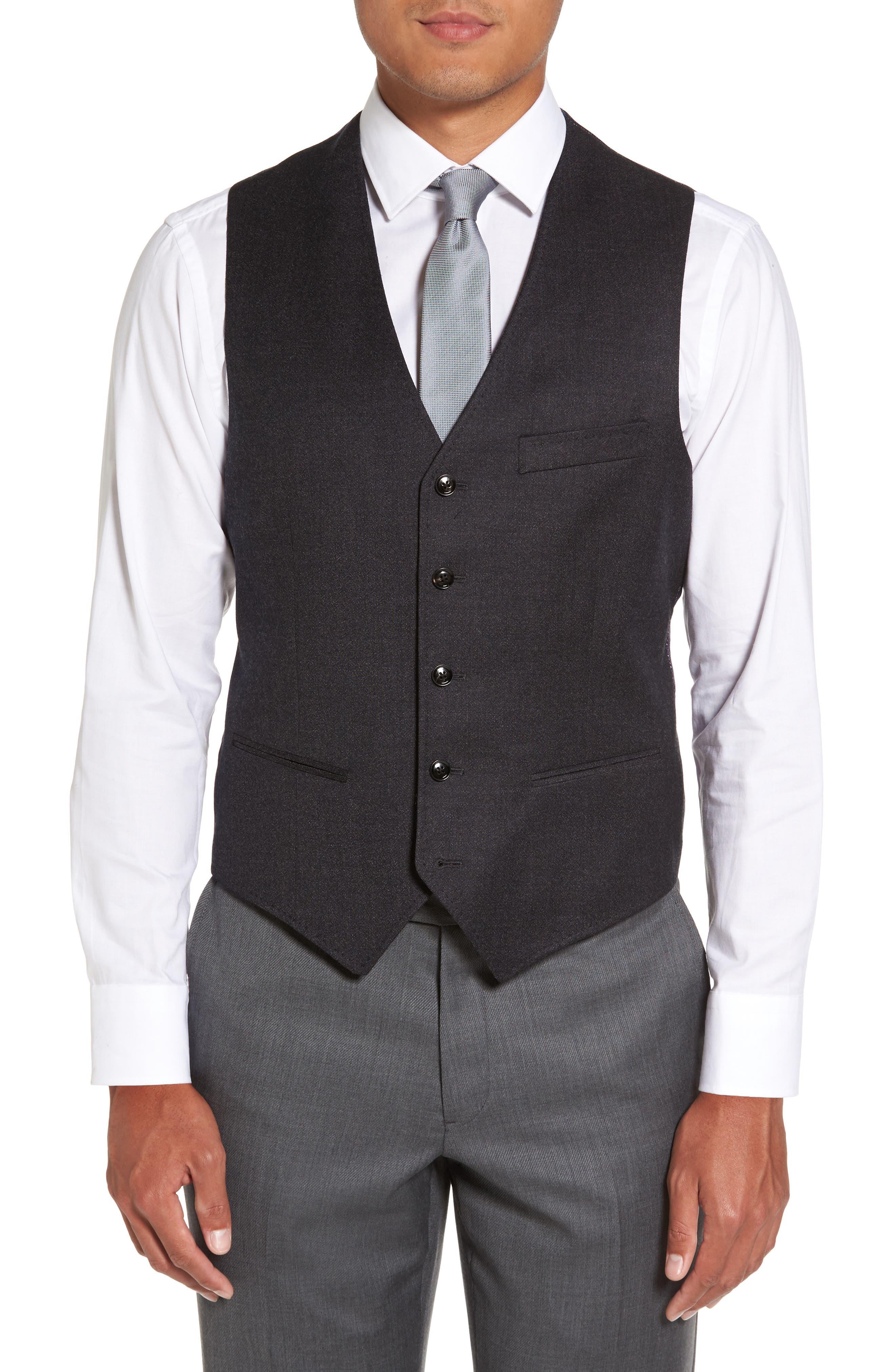 Troy Trim Fit Solid Wool Vest,                         Main,                         color, 502
