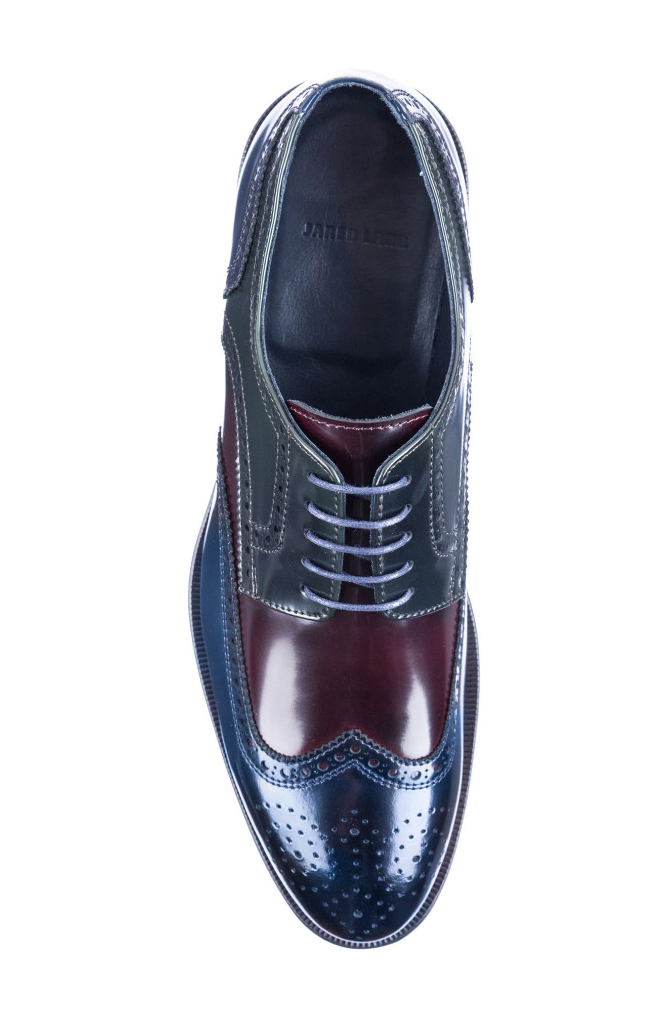 Bryce Wingtip Derby,                             Alternate thumbnail 5, color,                             BROWN/ BLUE LEATHER