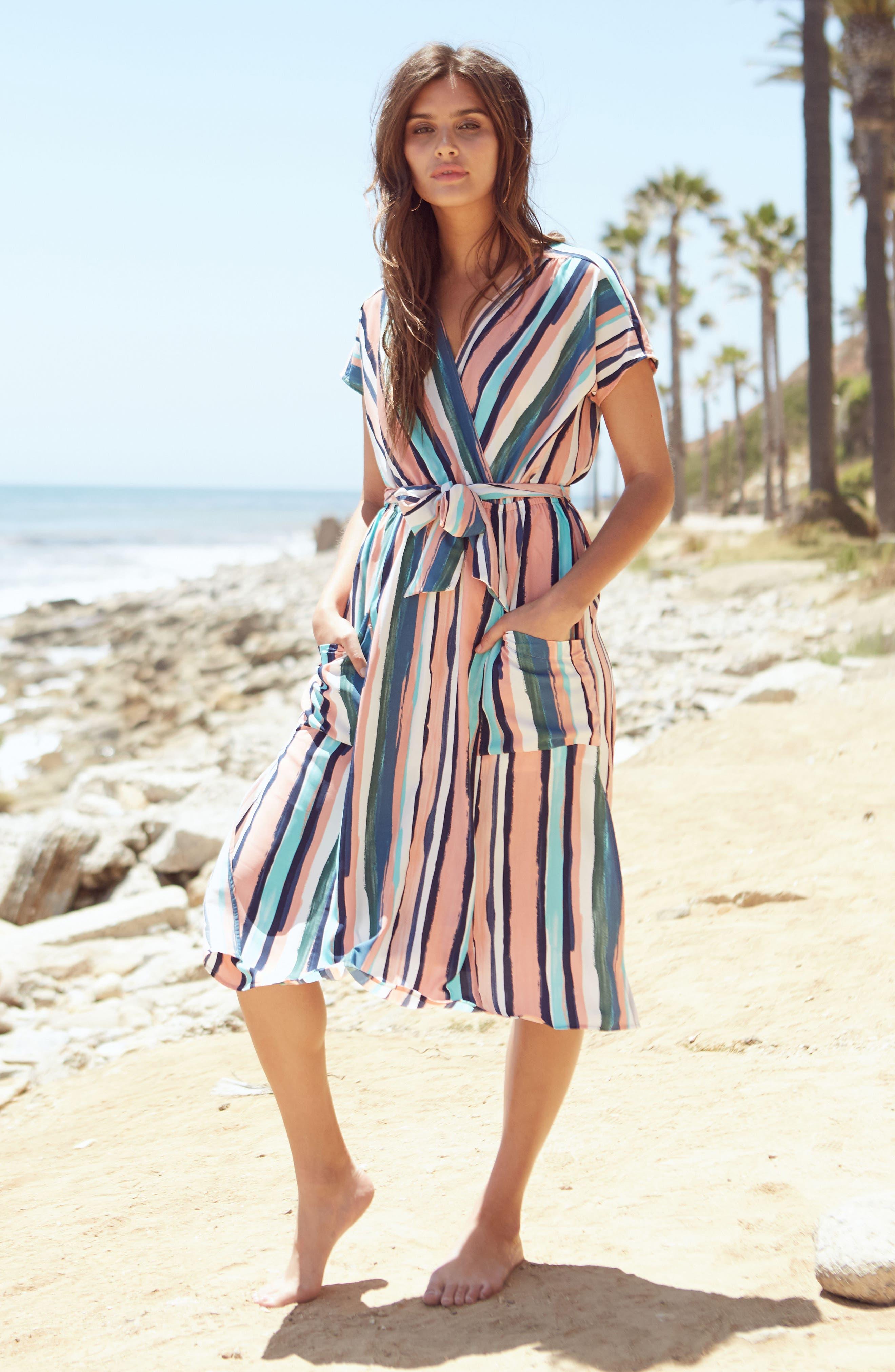 Santorini Faux Wrap Dress,                             Alternate thumbnail 7, color,                             MULTI PEACH