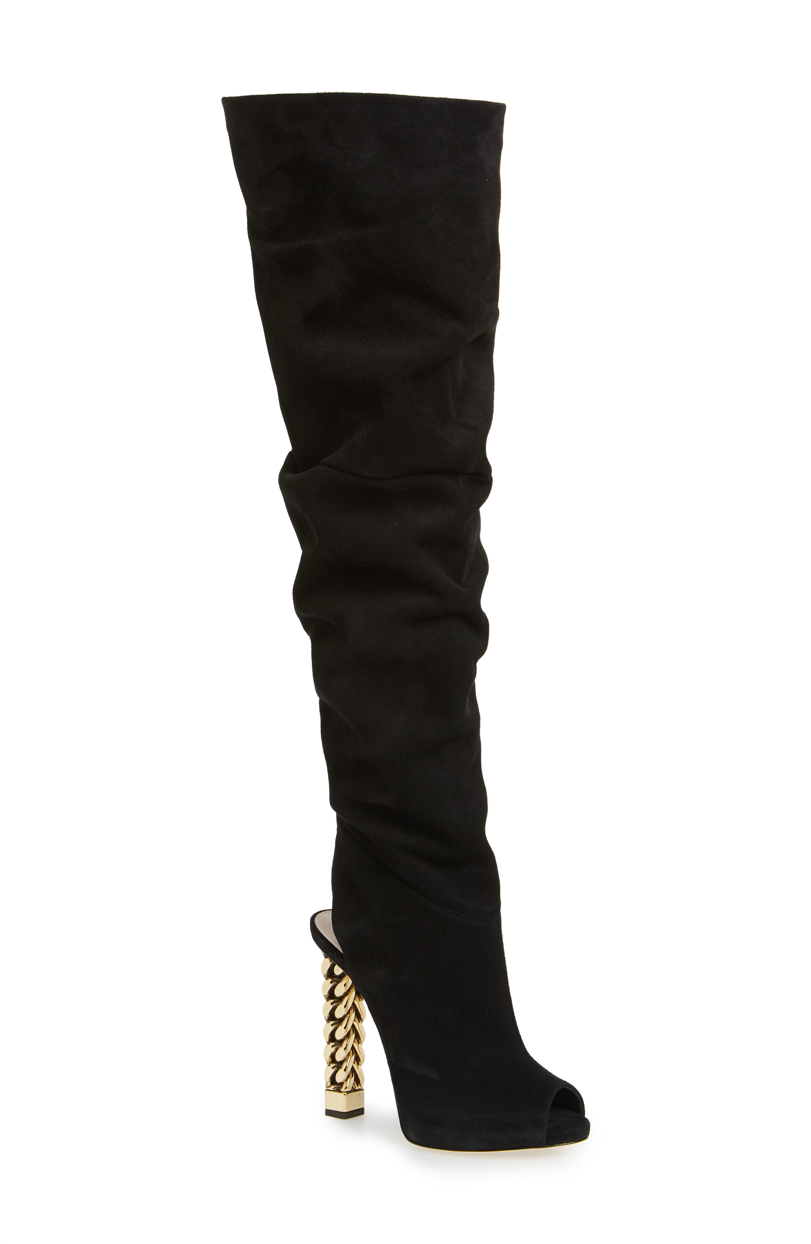x Rita Ora Chain Heel Over the Knee Boot, Main, color, BLACK