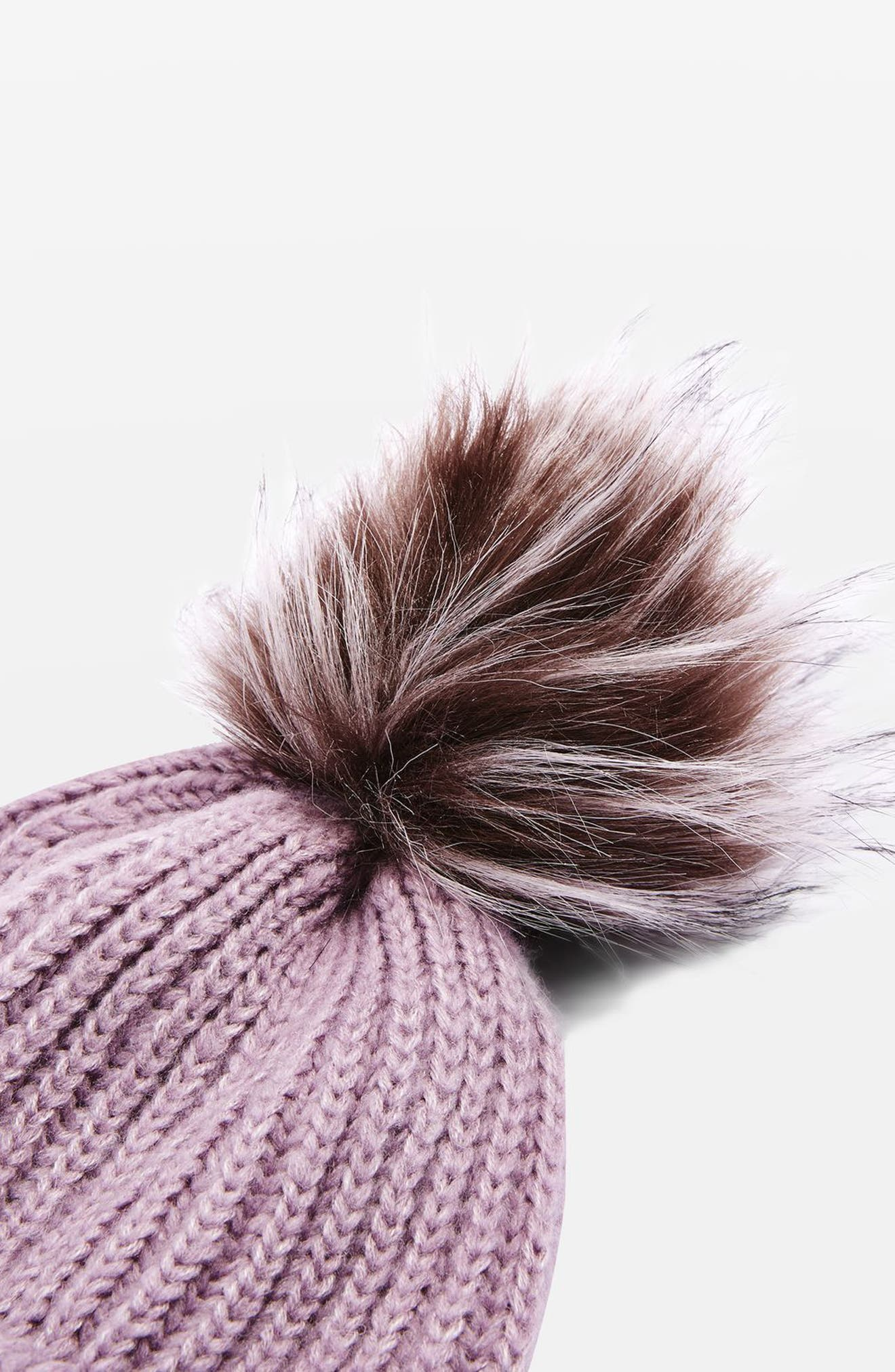 Faux Fur Pompom Beanie,                             Alternate thumbnail 8, color,