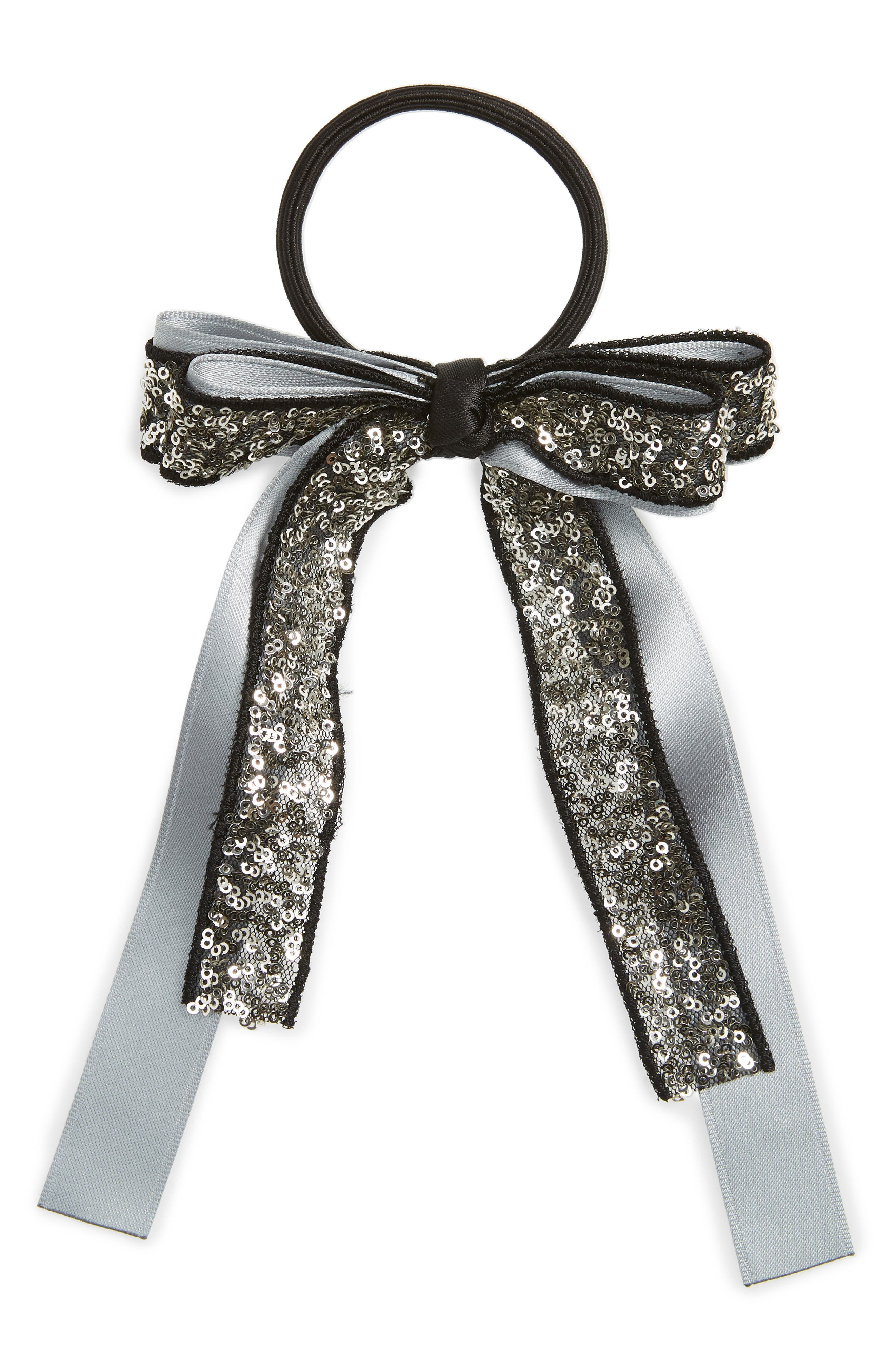 CARA Sequin Bow Ponytail Holder, Main, color, SILVER