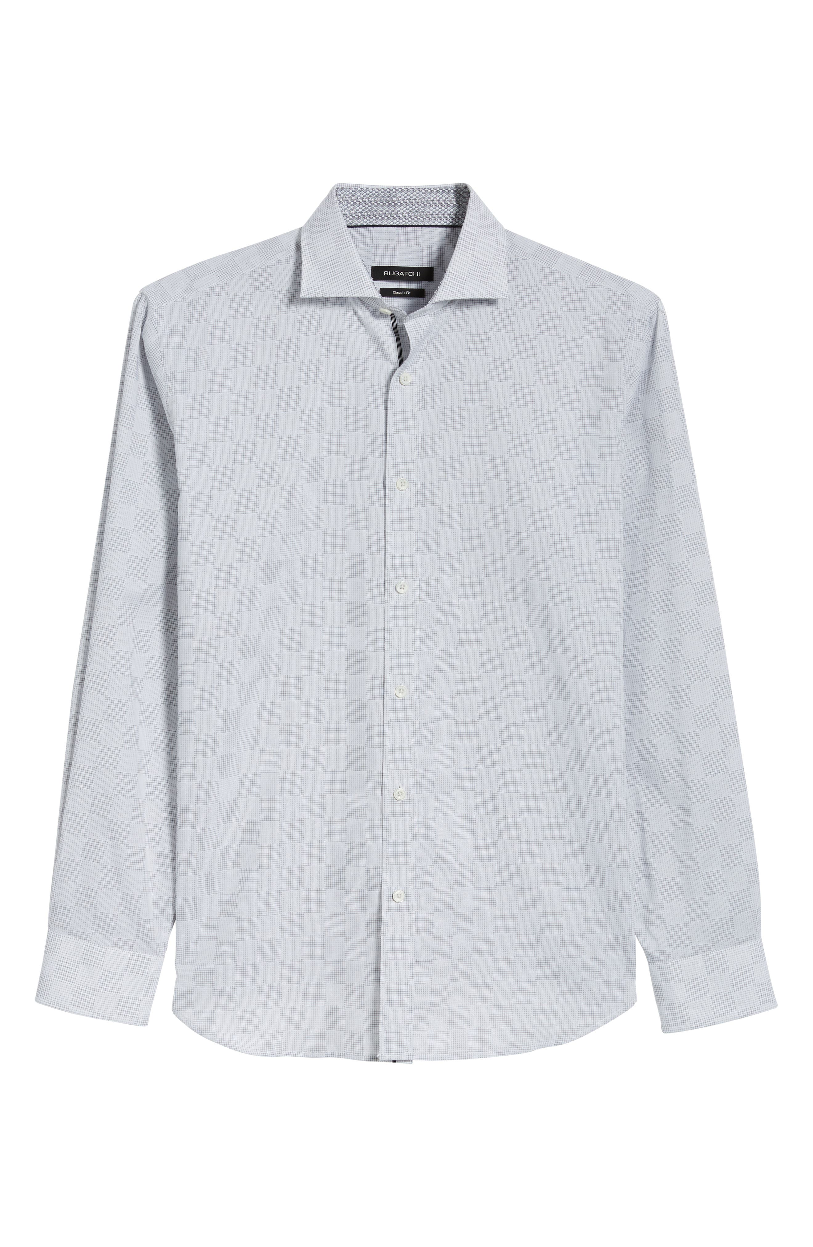 Classic Fit Checkerboard Print Sport Shirt,                             Alternate thumbnail 6, color,                             020