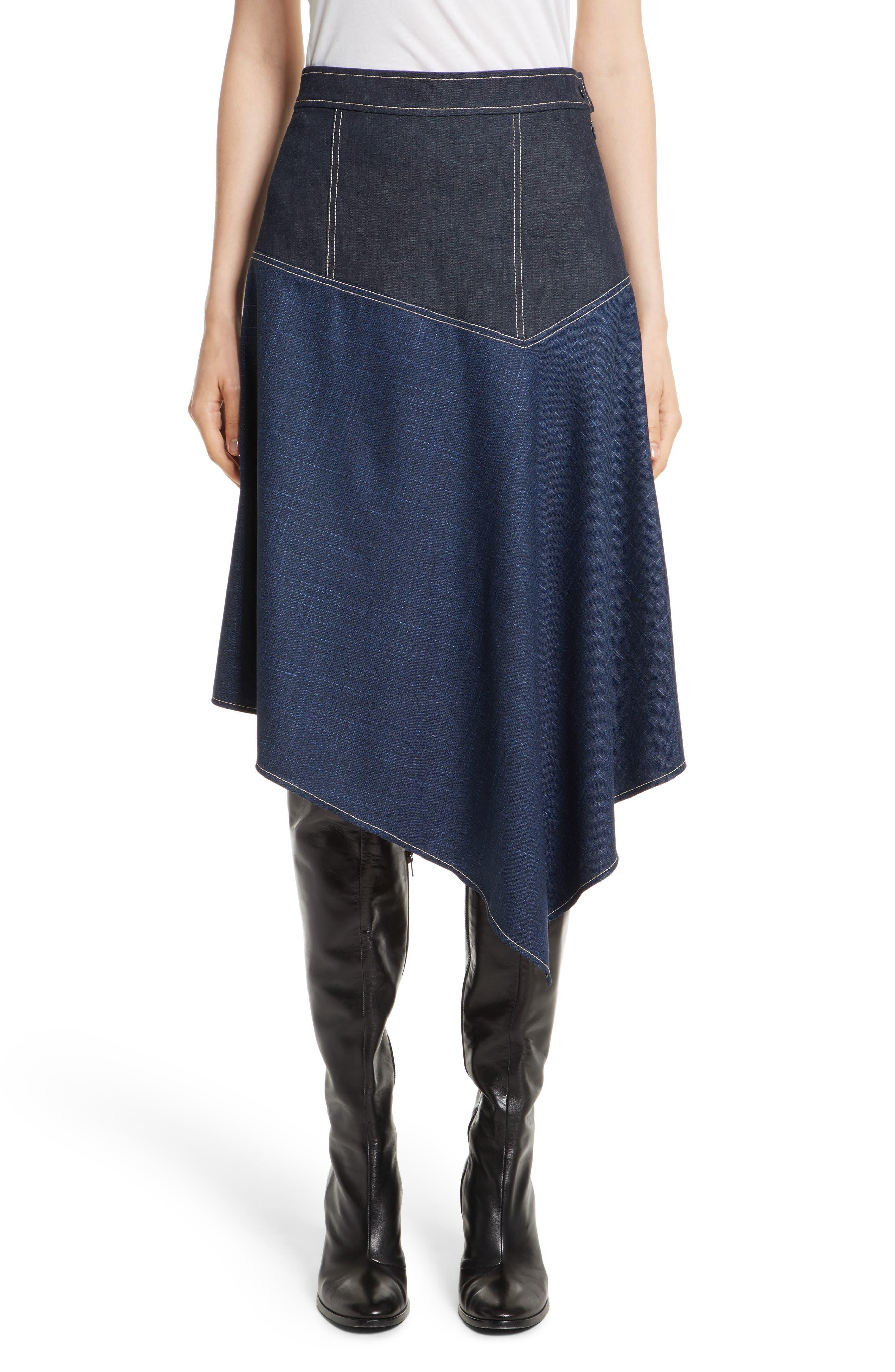 Asymmetrical Mixed Media Skirt,                         Main,                         color, 410