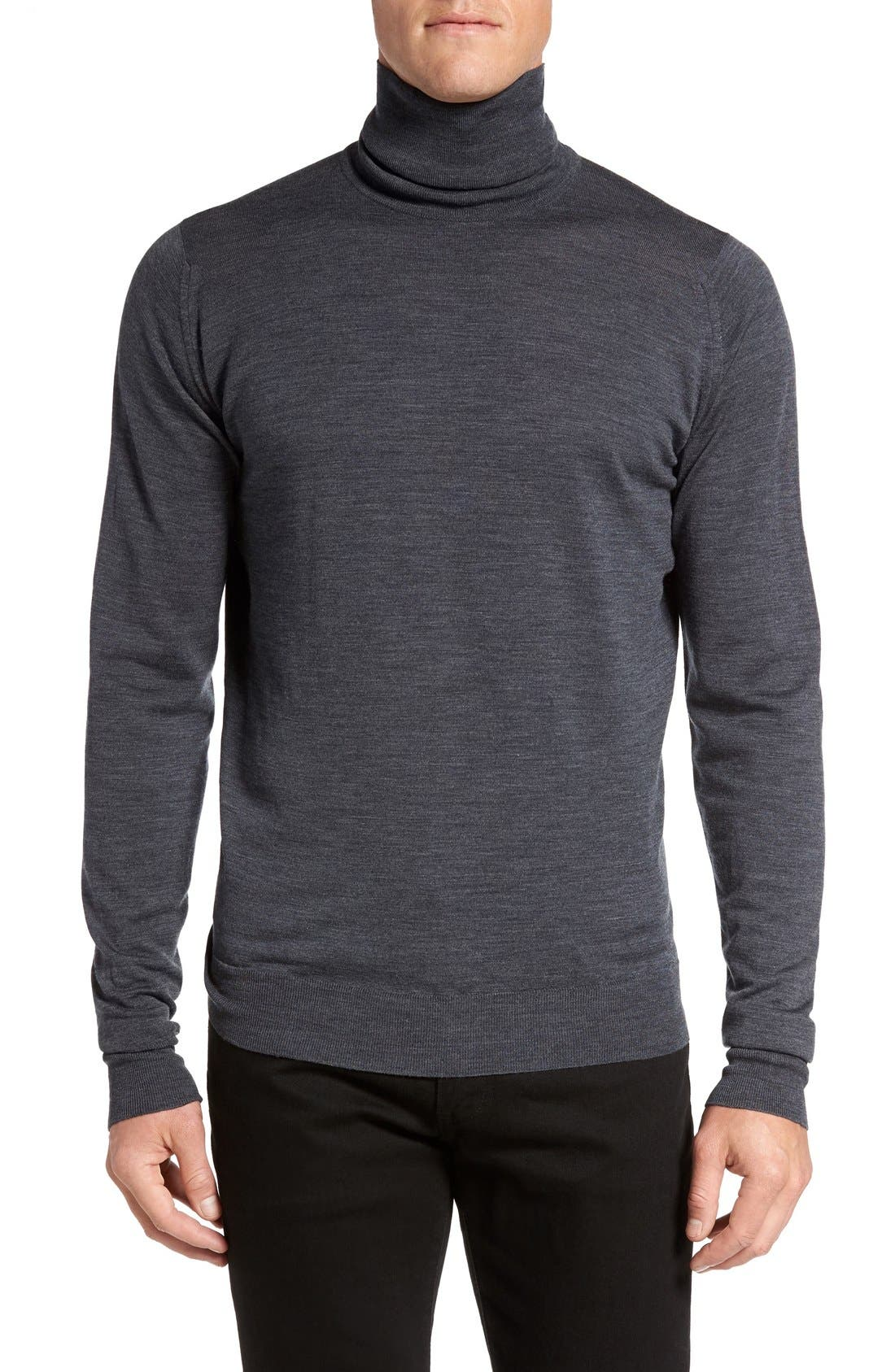 'Richards' Easy Fit Turtleneck Wool Sweater,                             Main thumbnail 5, color,