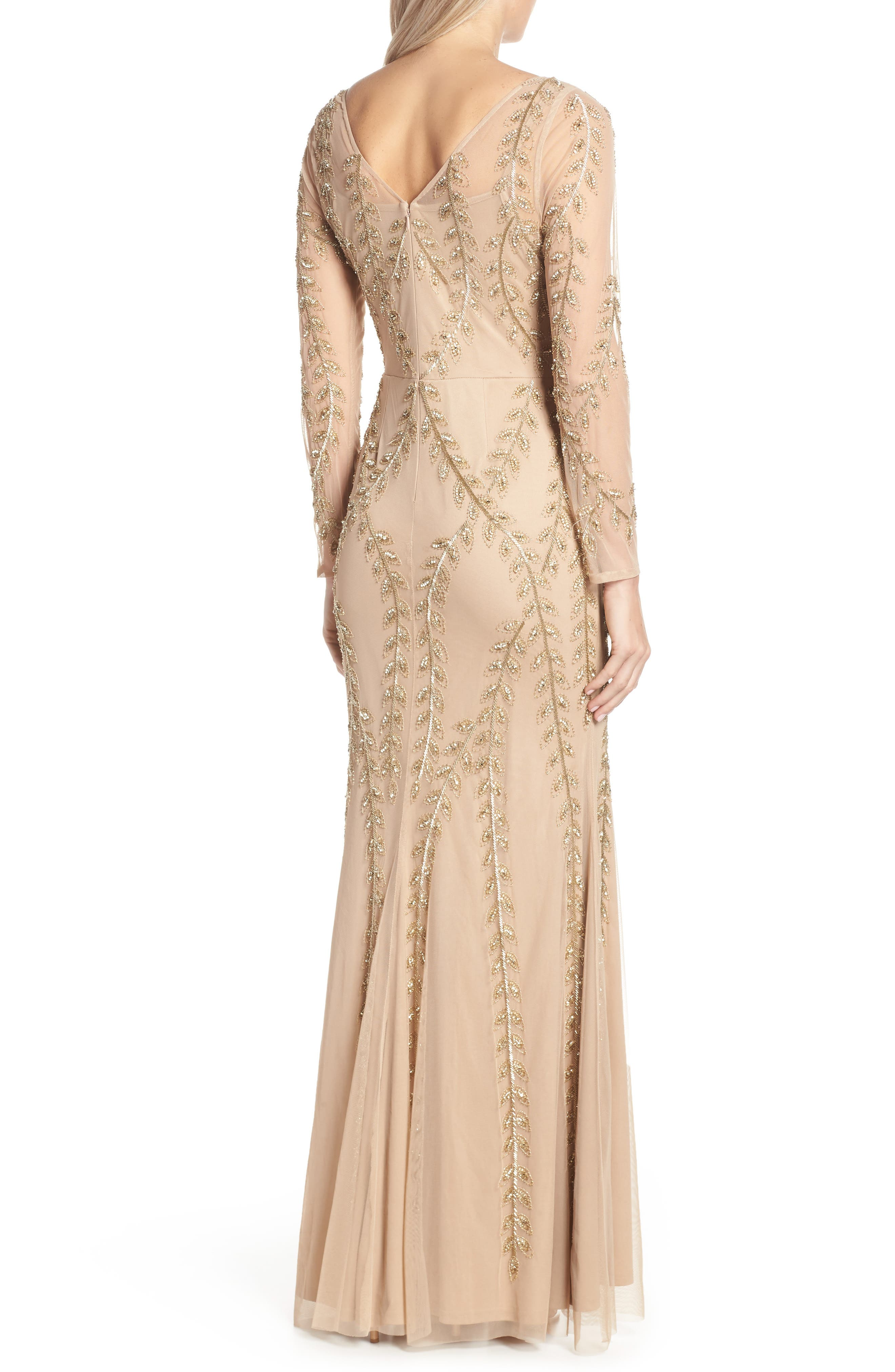 ADRIANNA PAPELL,                             Fern Beaded Gown,                             Alternate thumbnail 2, color,                             CHAMPAGNE/ GOLD