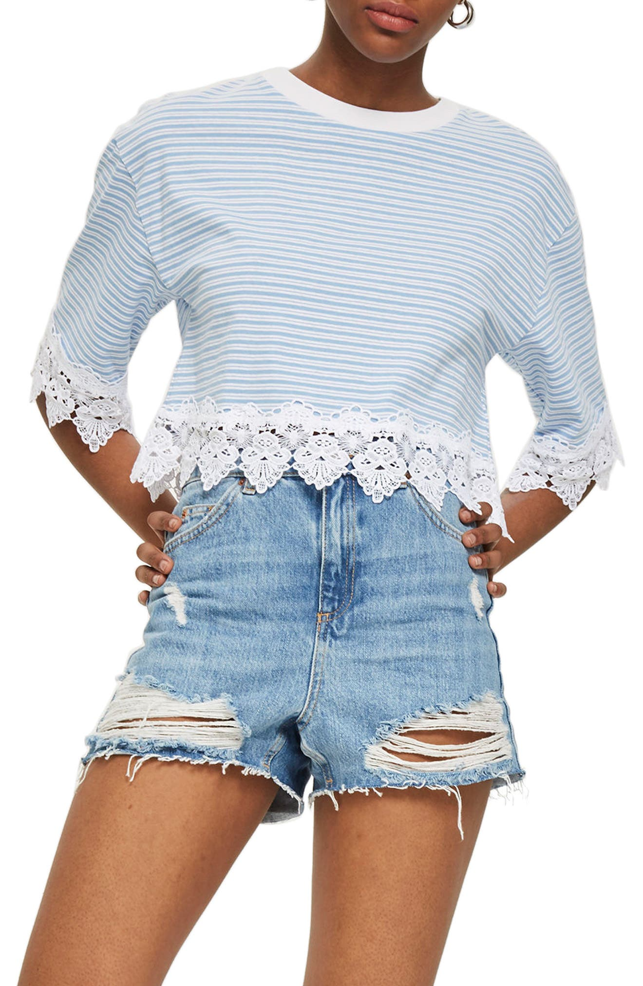 TOPSHOP,                             Stripe Lace Hem Crop Shirt,                             Main thumbnail 1, color,                             400