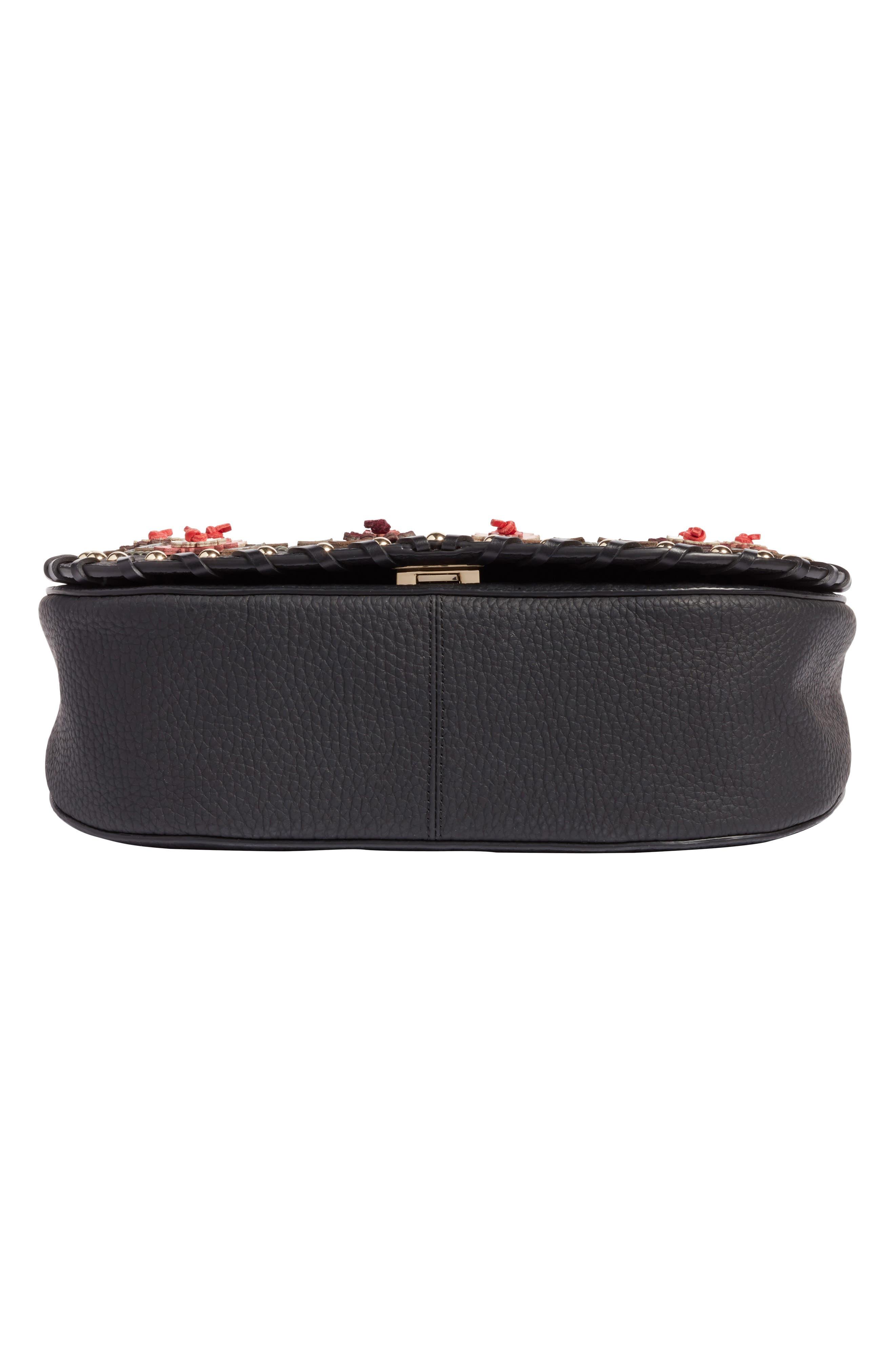 madison daniels drive - tressa embellished leather crossbody bag,                             Alternate thumbnail 6, color,                             001