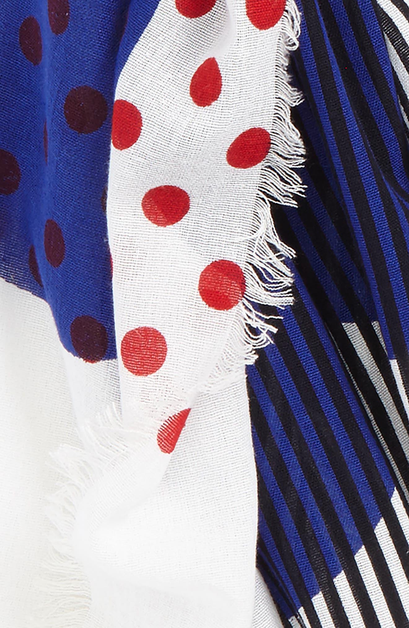 Half Stripe Dot Cotton & Silk Scarf,                             Alternate thumbnail 4, color,                             400