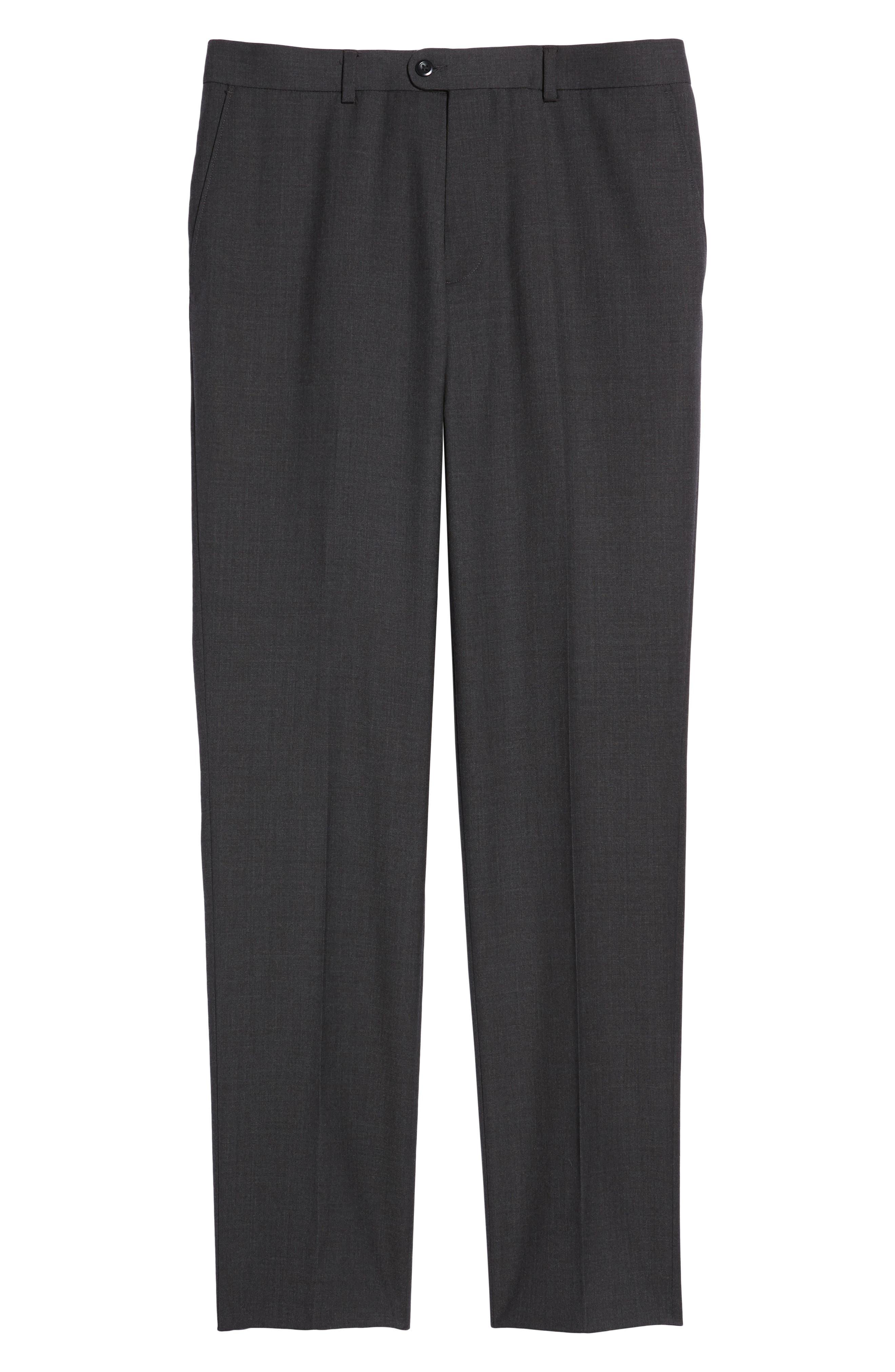 Gab Trim Fit Flat Front Pants,                             Alternate thumbnail 6, color,                             002