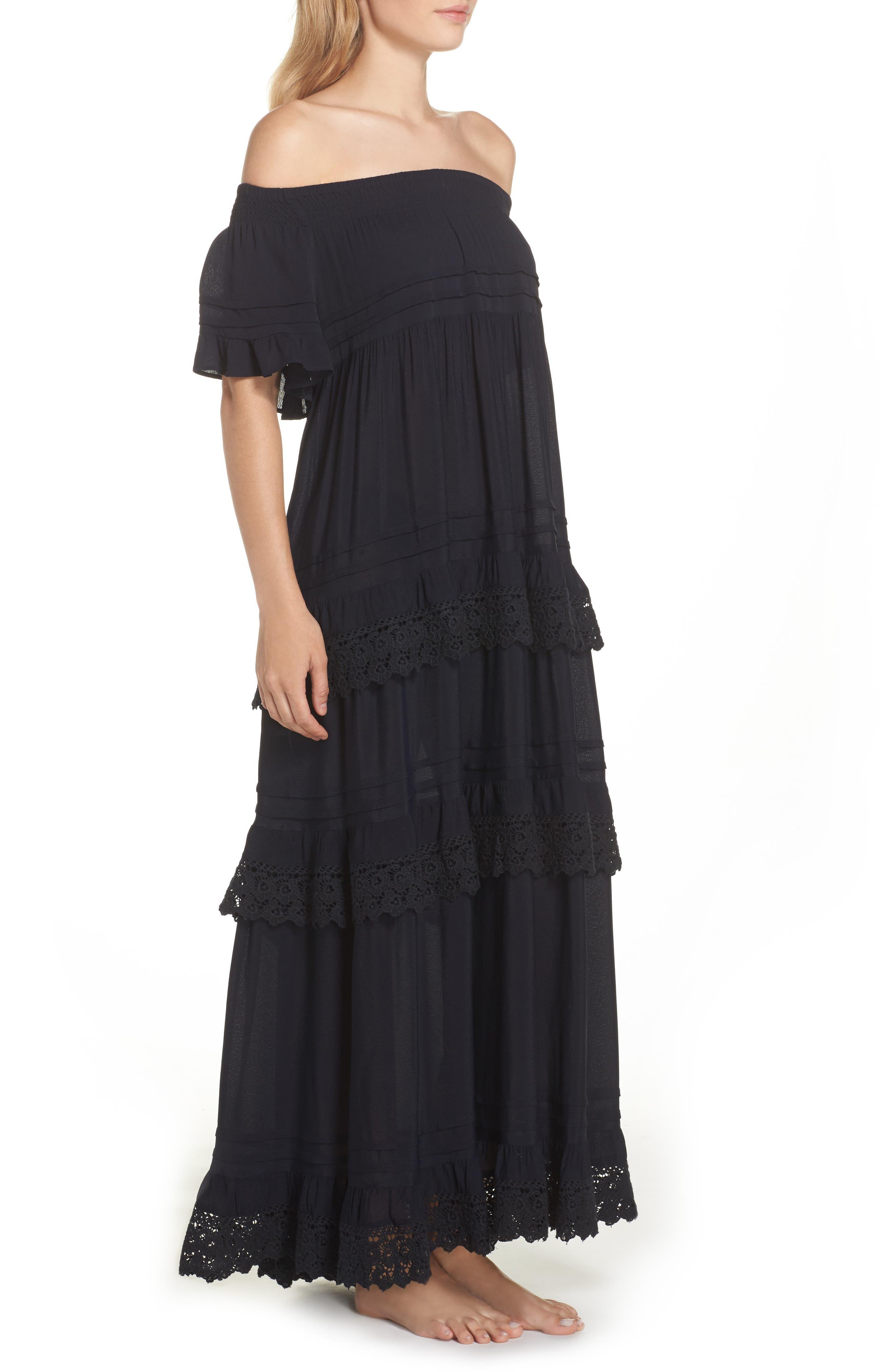 Esmerelda Off the Shoulder Cover-Up Maxi Dress,                             Alternate thumbnail 5, color,