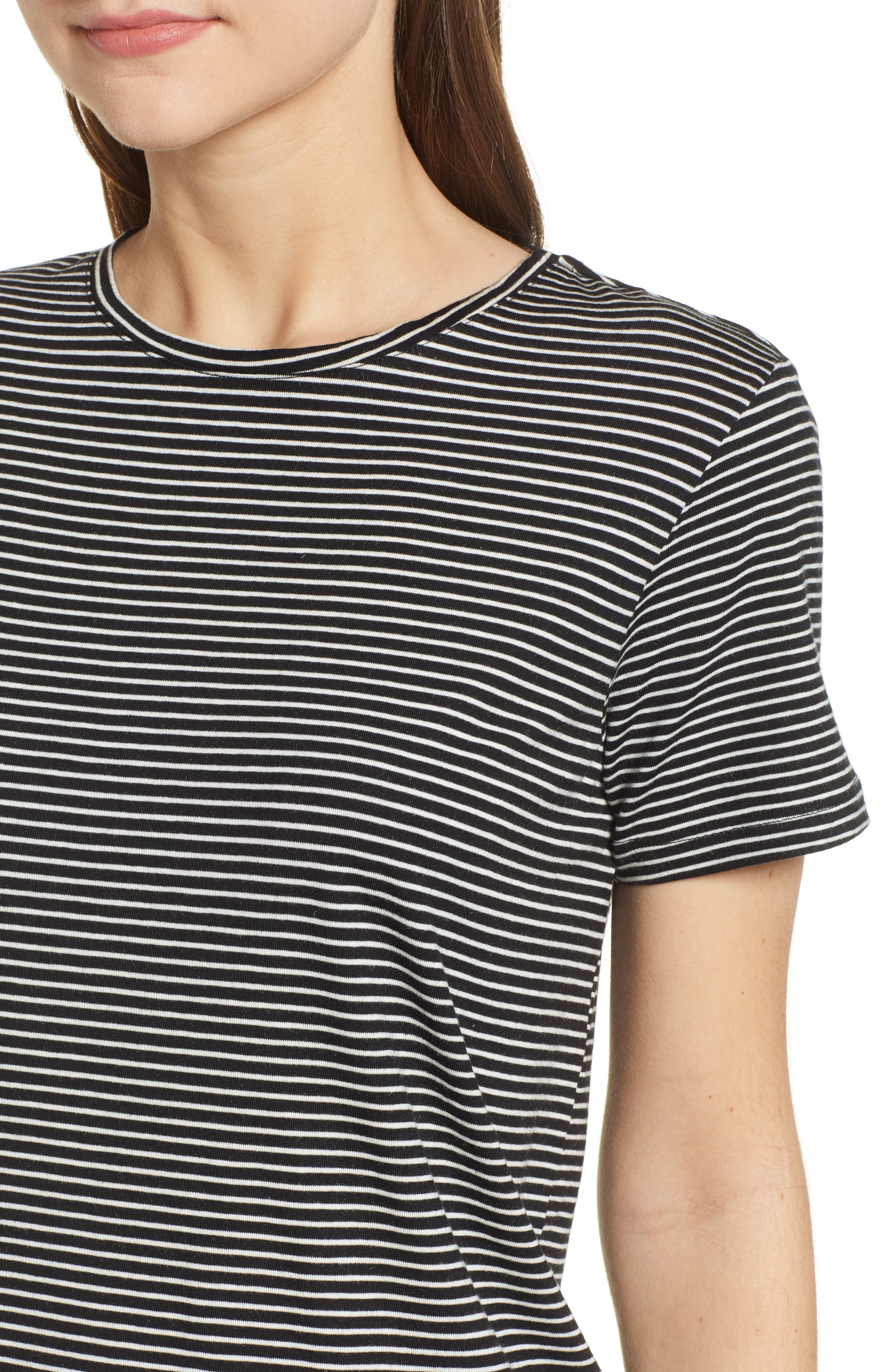 Ava Stripe Tee,                             Alternate thumbnail 4, color,                             BLACK STRIPE