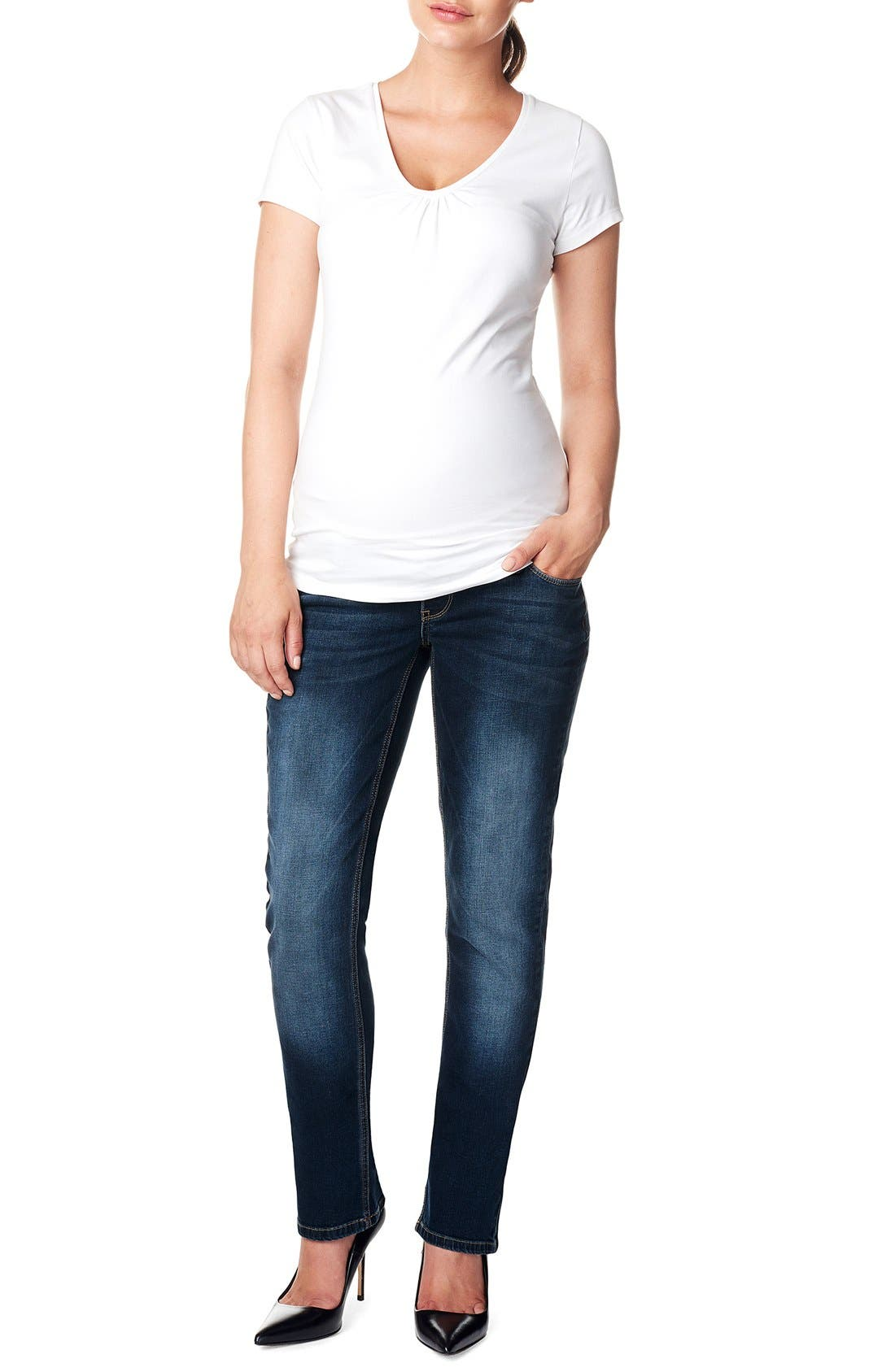 'Mena Comfort' Over the Belly Straight Leg Maternity Jeans,                         Main,                         color, DARK STONE WASH