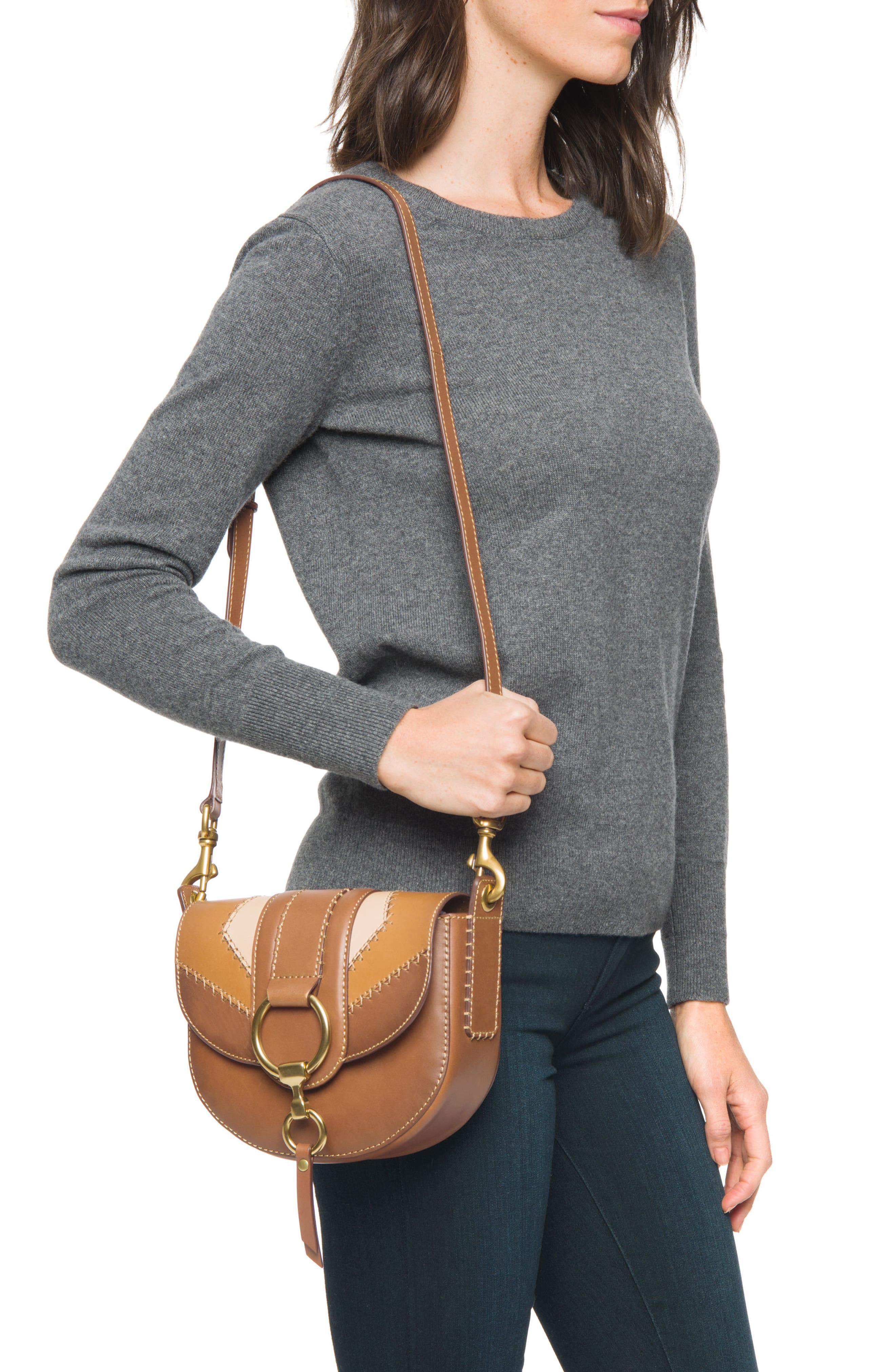 Small Ilana Colorblock Leather Saddle Bag,                             Alternate thumbnail 2, color,                             200