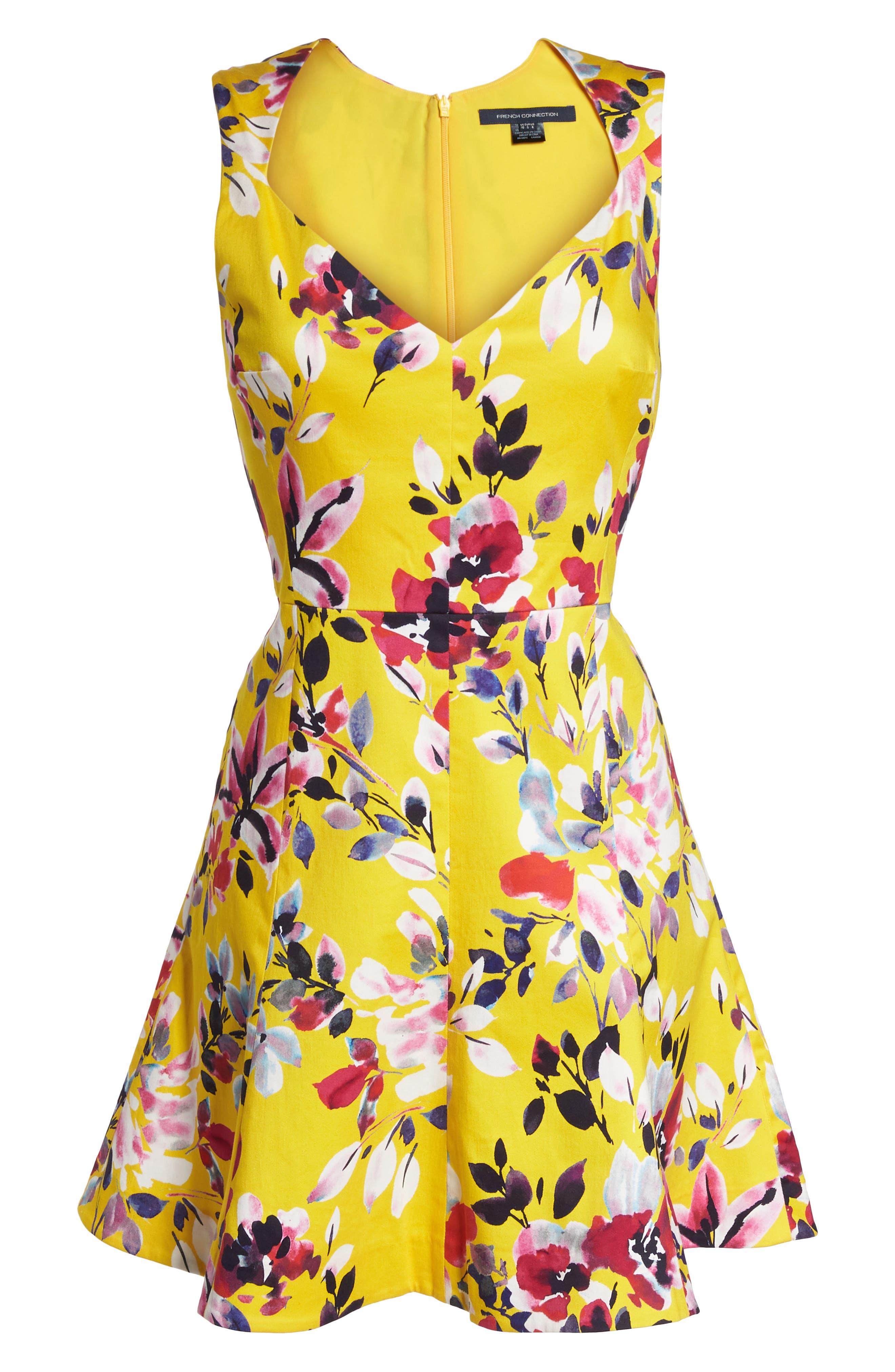Linosa Fit & Flare Dress,                             Alternate thumbnail 7, color,                             CITRUS