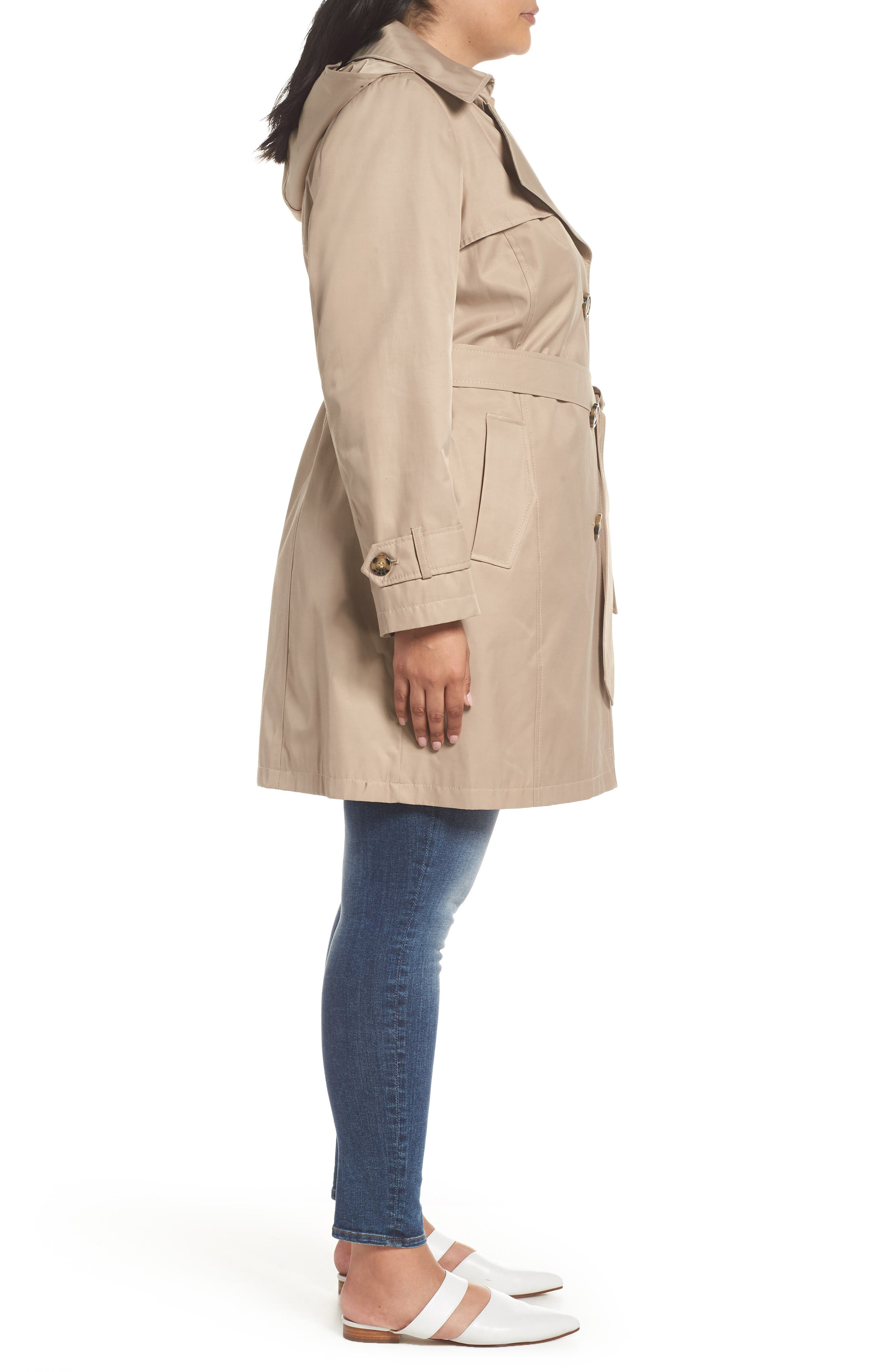 HALOGEN<SUP>®</SUP>,                             Hooded Trench Coat,                             Alternate thumbnail 3, color,                             299