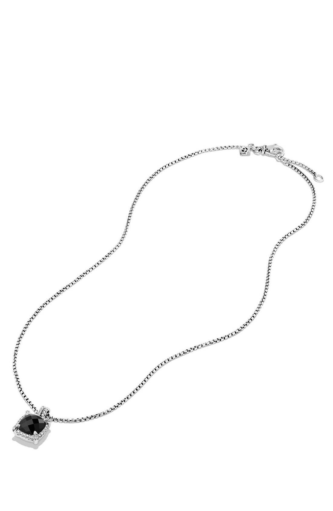 'Châtelaine' Small Pavé Bezel Pendant Necklace with Diamonds,                             Alternate thumbnail 3, color,                             BLACK ONYX