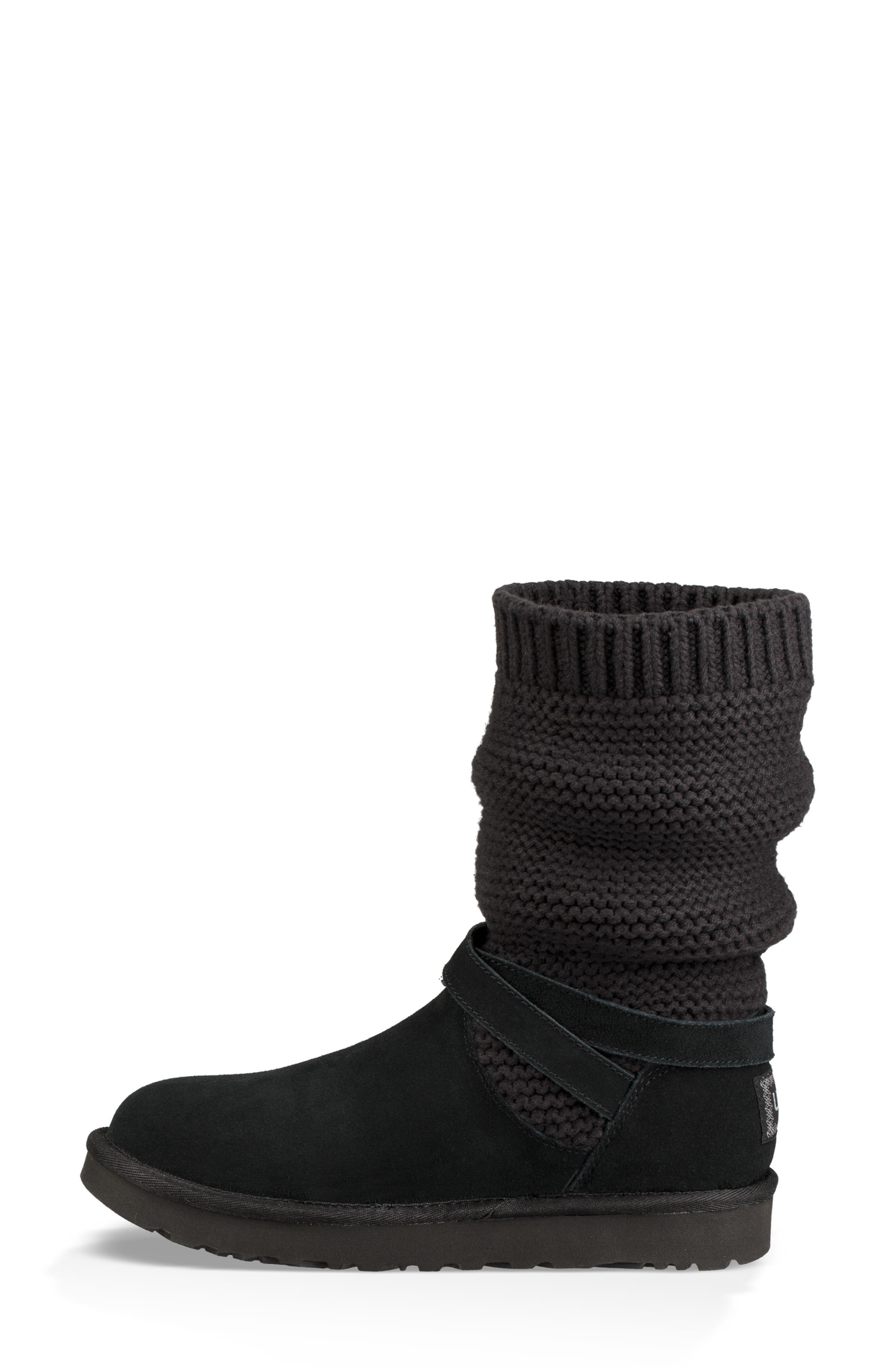UGGpure<sup>™</sup> Strappy Purl Knit Bootie,                             Alternate thumbnail 7, color,                             BLACK SUEDE