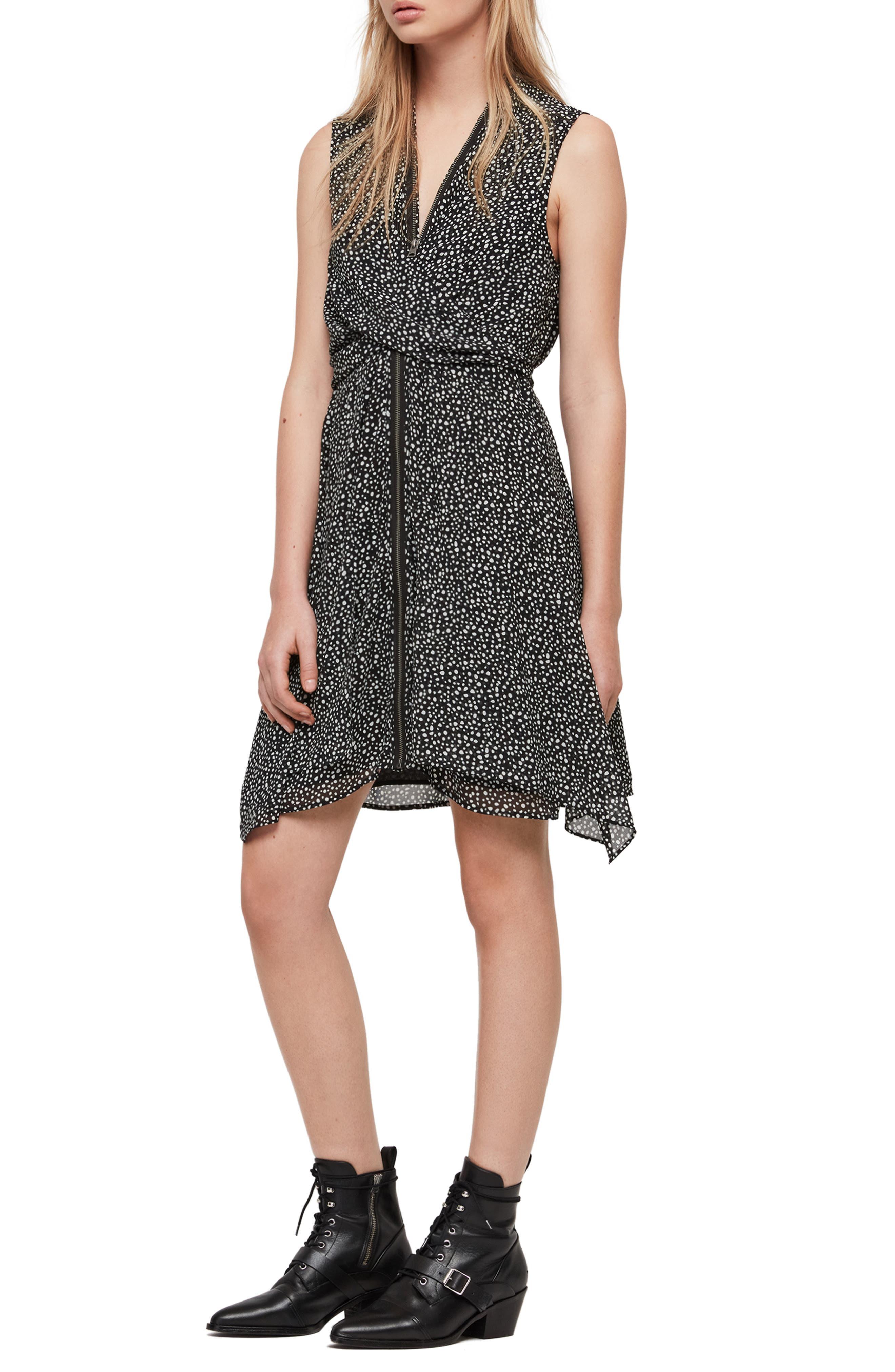 ALLSAINTS,                             Jayda Splash Dress,                             Main thumbnail 1, color,                             BLACK/ WHITE