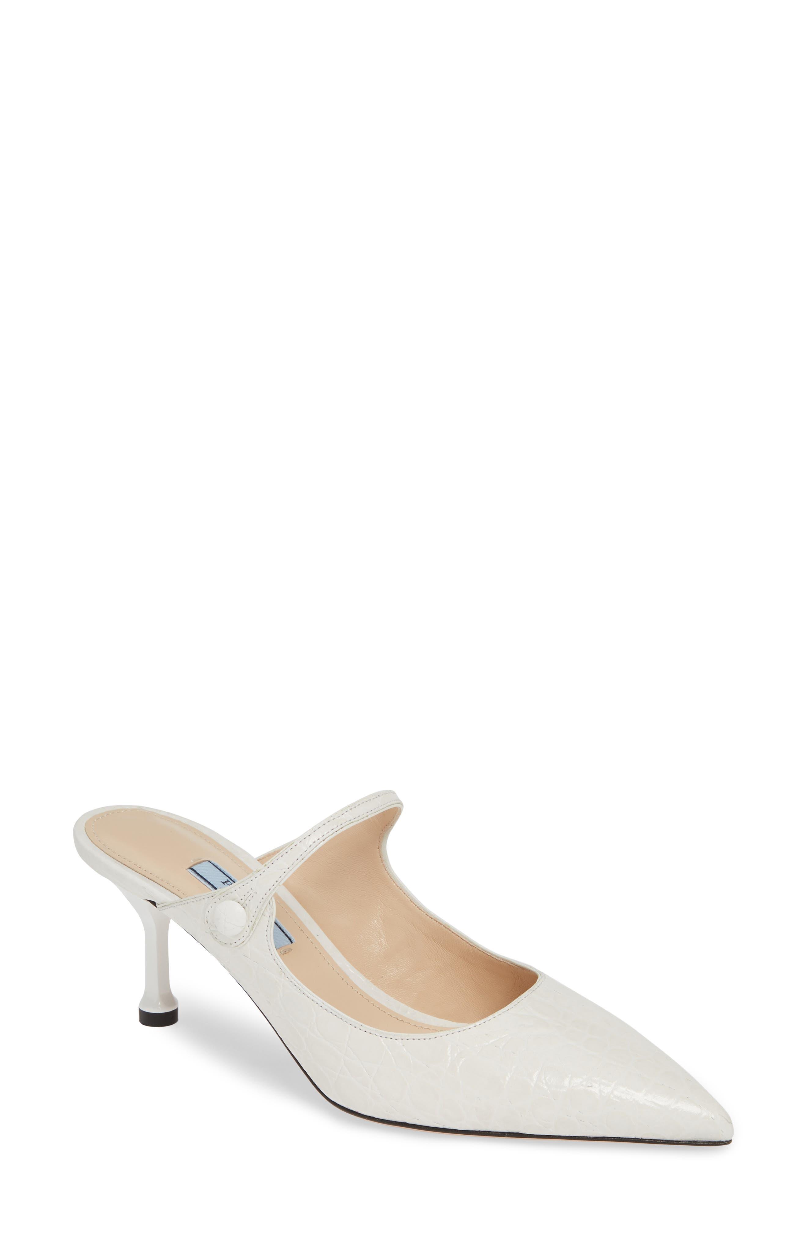 PRADA Pin Heel Mule, Main, color, WHITE