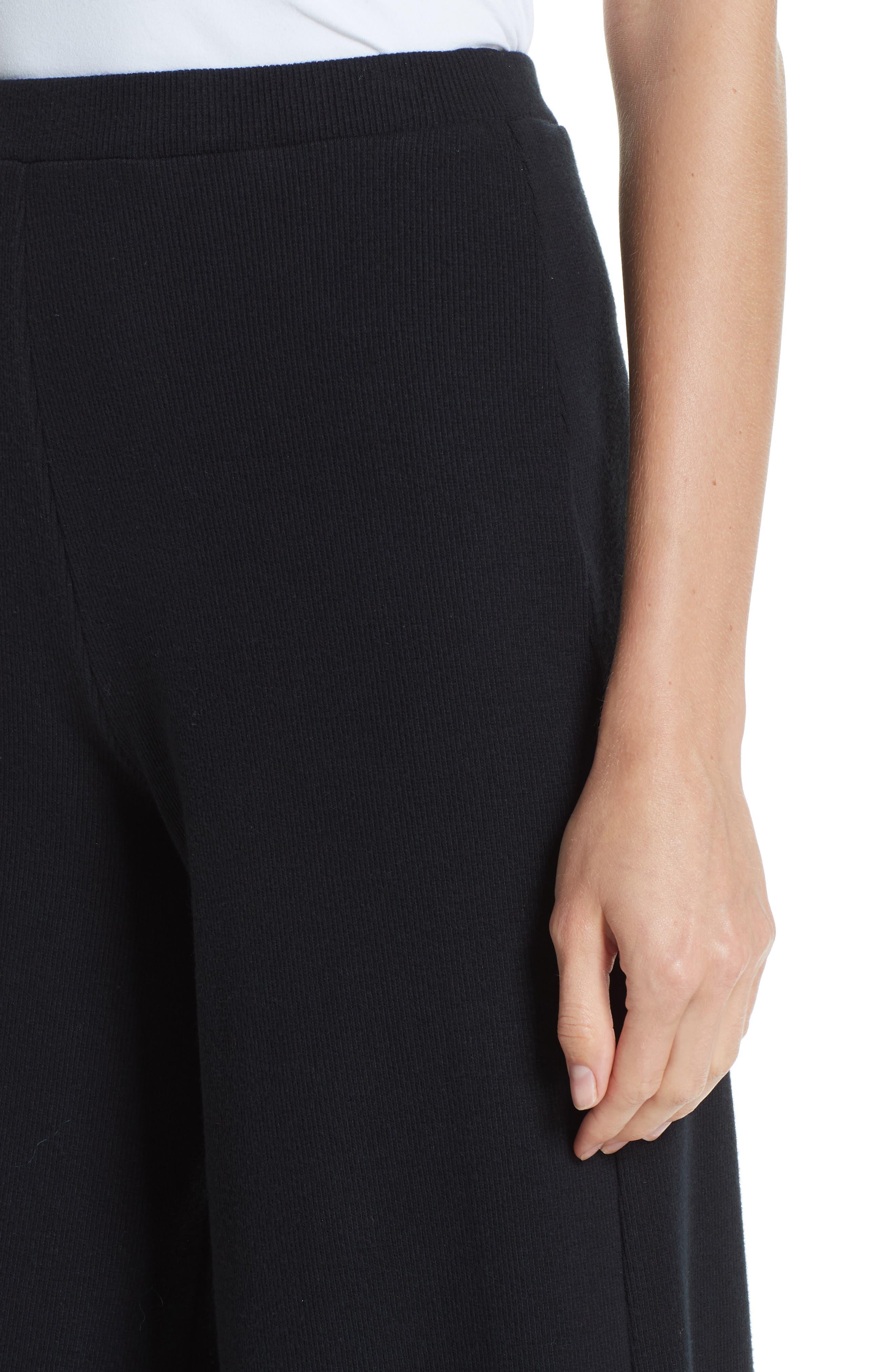 Wide Leg Rib Pants,                             Alternate thumbnail 4, color,                             BLACK