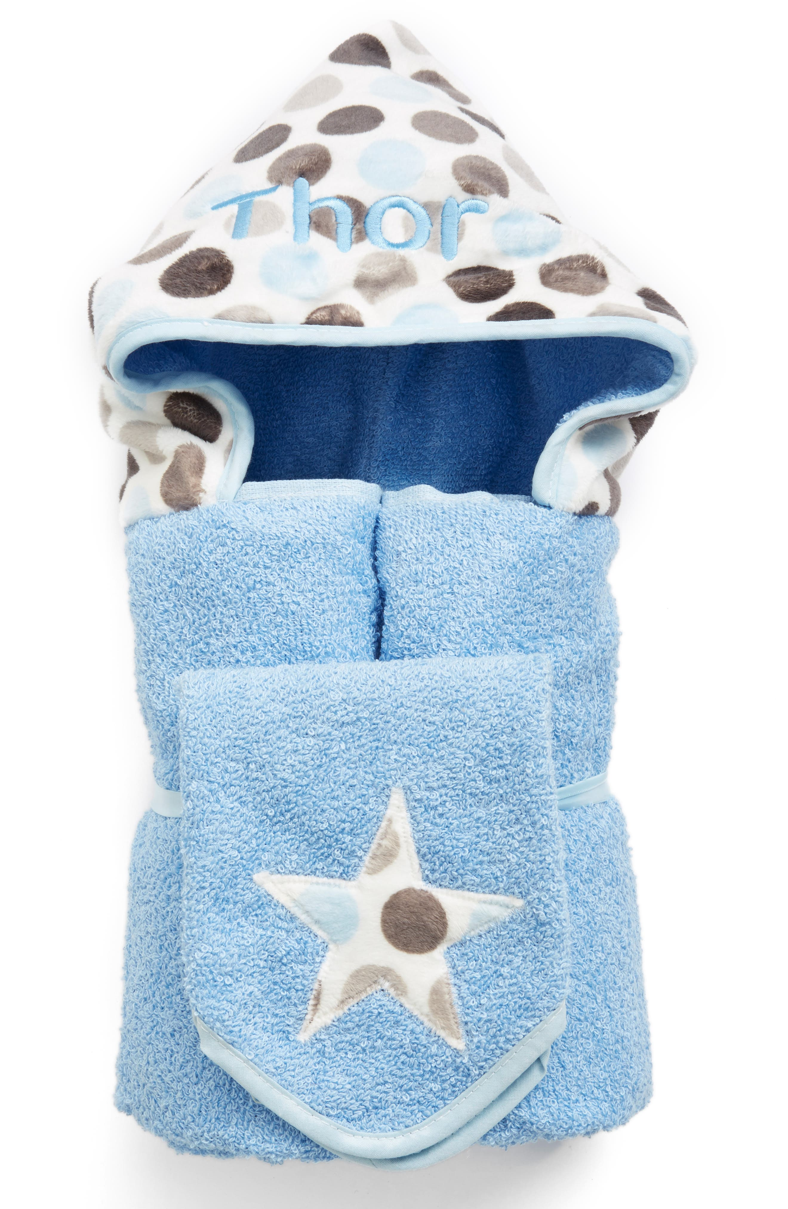 BIBZ N THINGZ,                             Personalized Hooded Towel,                             Alternate thumbnail 2, color,                             BLUE DOT
