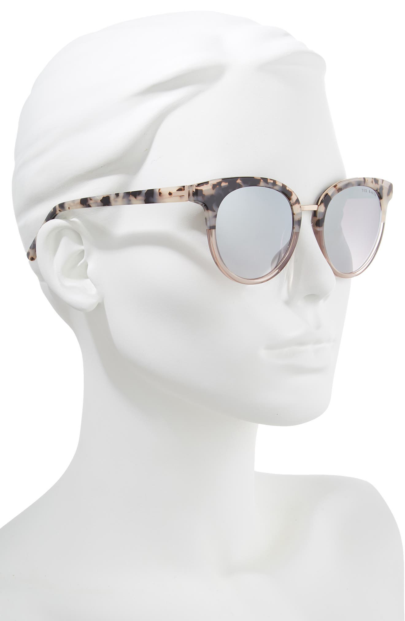 52mm Round Sunglasses,                             Alternate thumbnail 2, color,                             IVORY