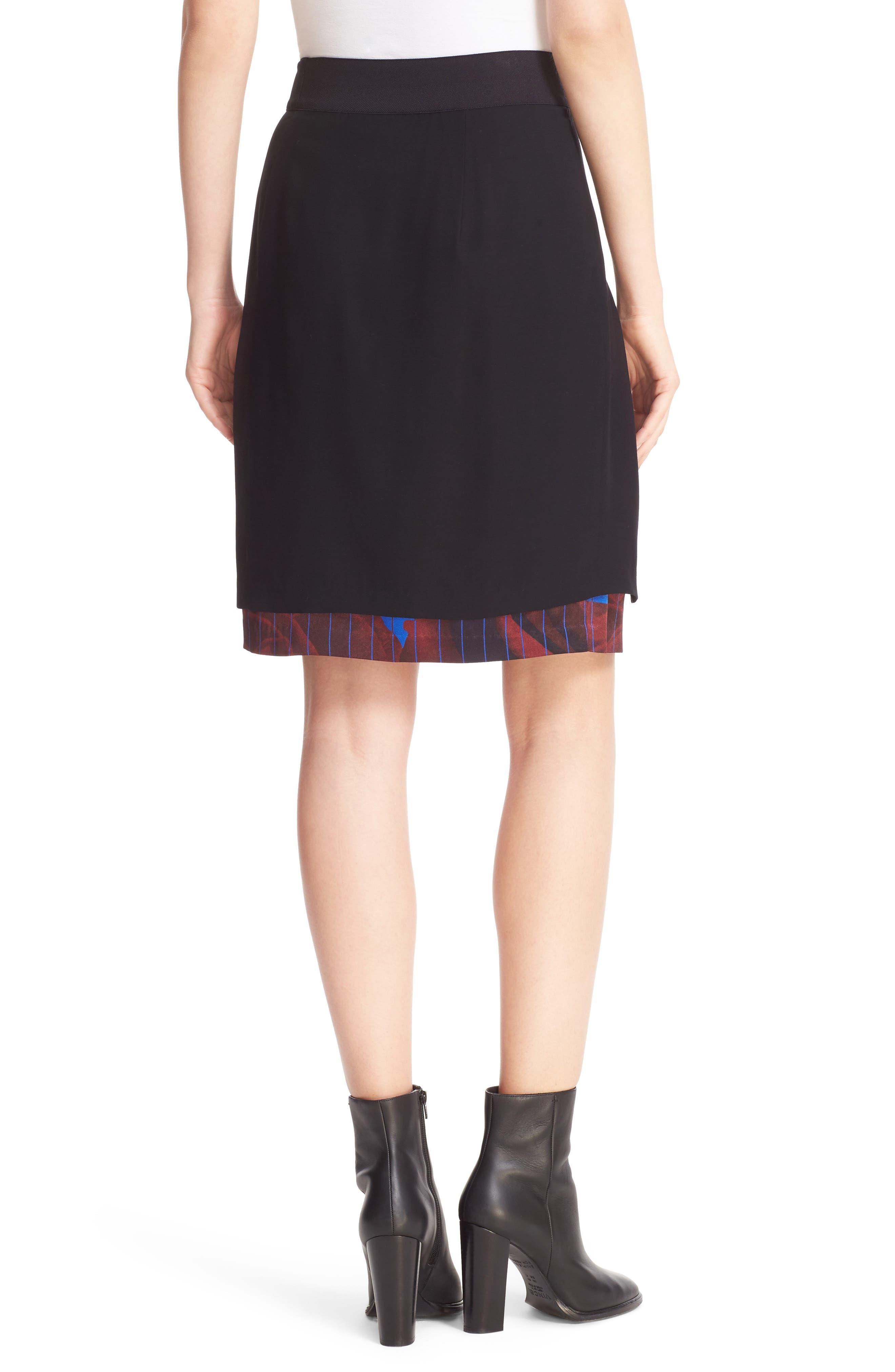 Asymmetrical Mixed Media Skirt,                             Alternate thumbnail 2, color,                             001