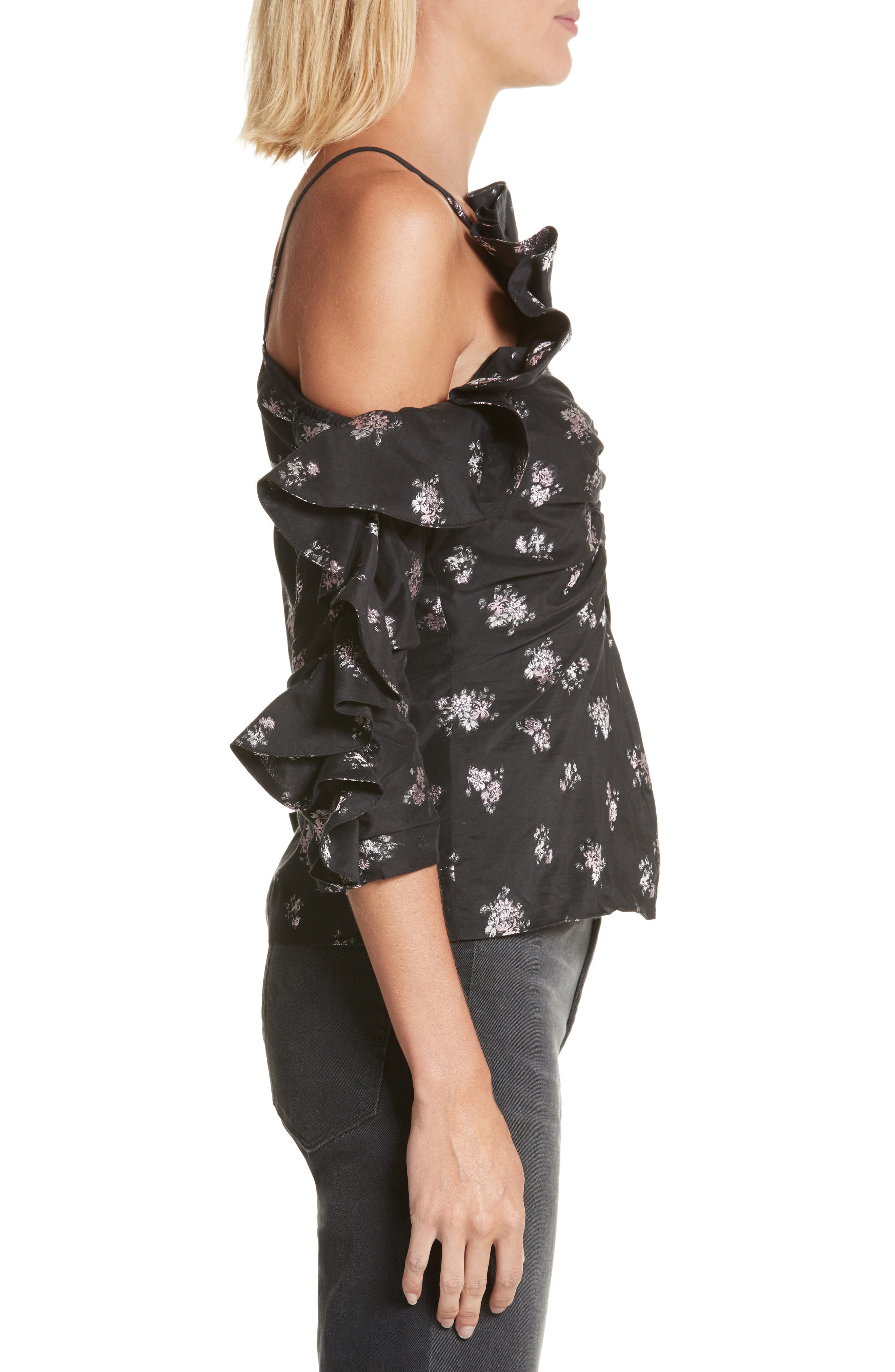 Off the Shoulder Floral Ruffle Top,                             Alternate thumbnail 3, color,                             001