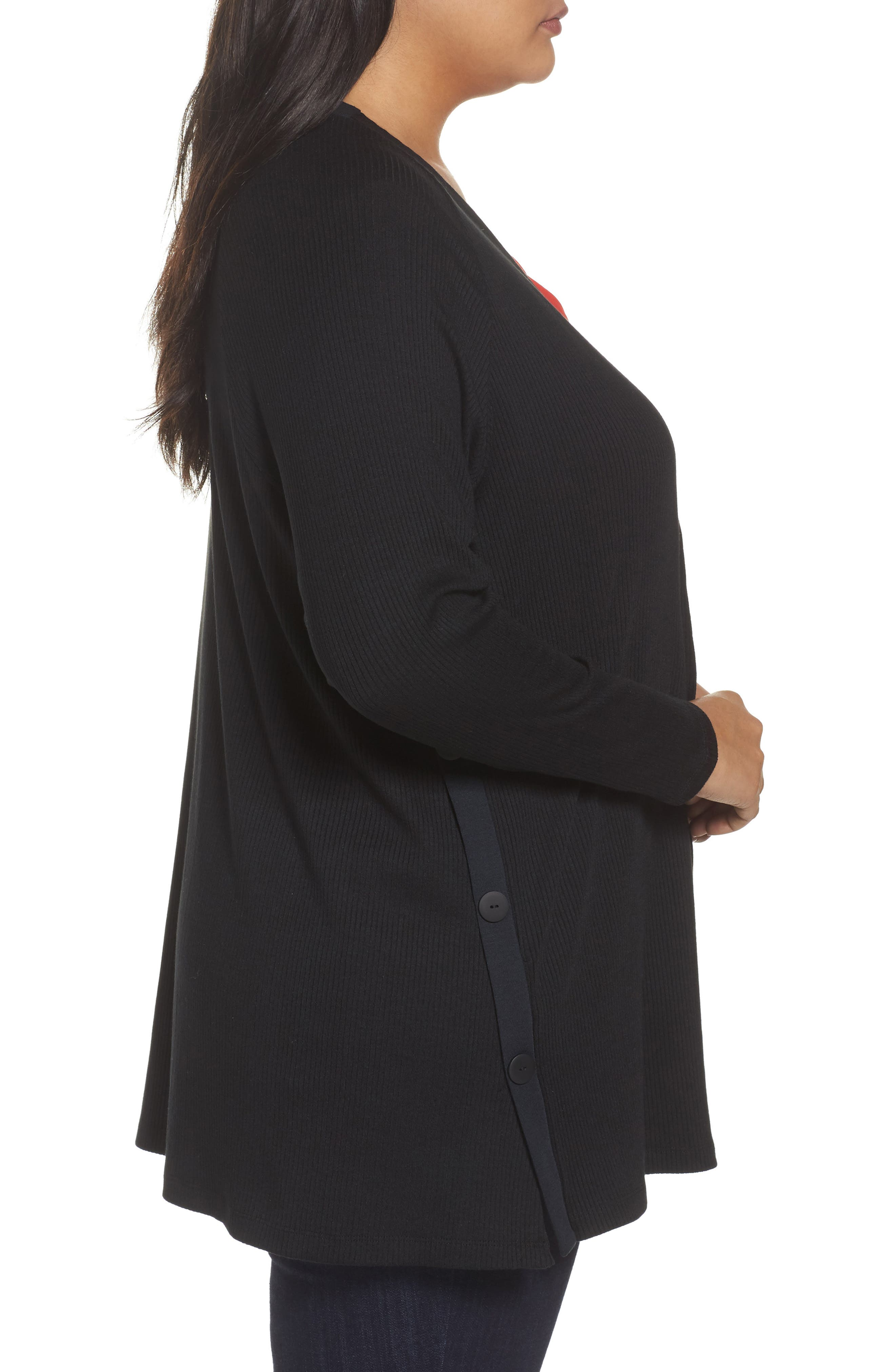 Easy Long Open Front Cardigan,                             Alternate thumbnail 3, color,                             001