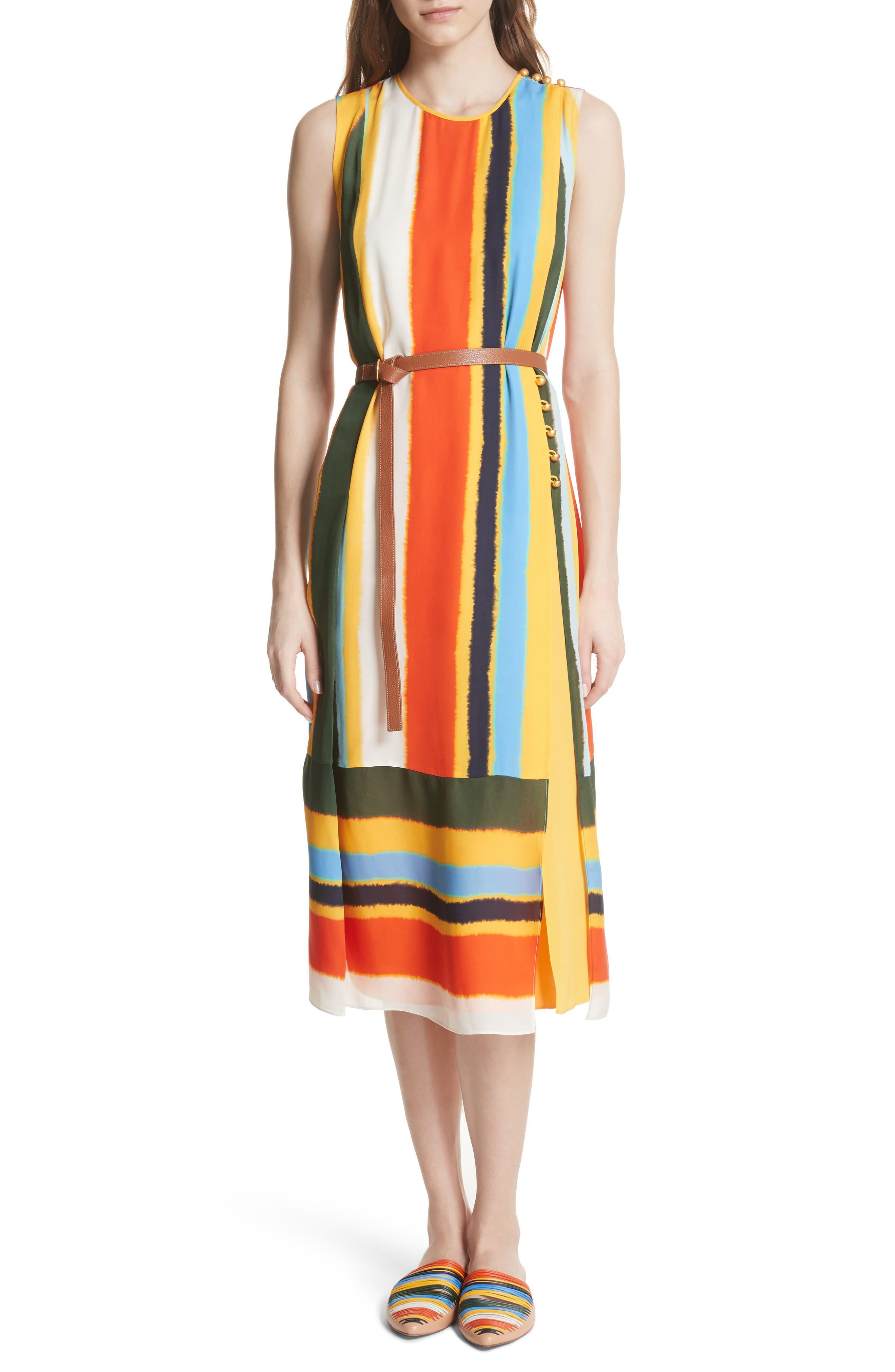 Bettina Stripe Silk Wrap Dress,                             Main thumbnail 1, color,                             108