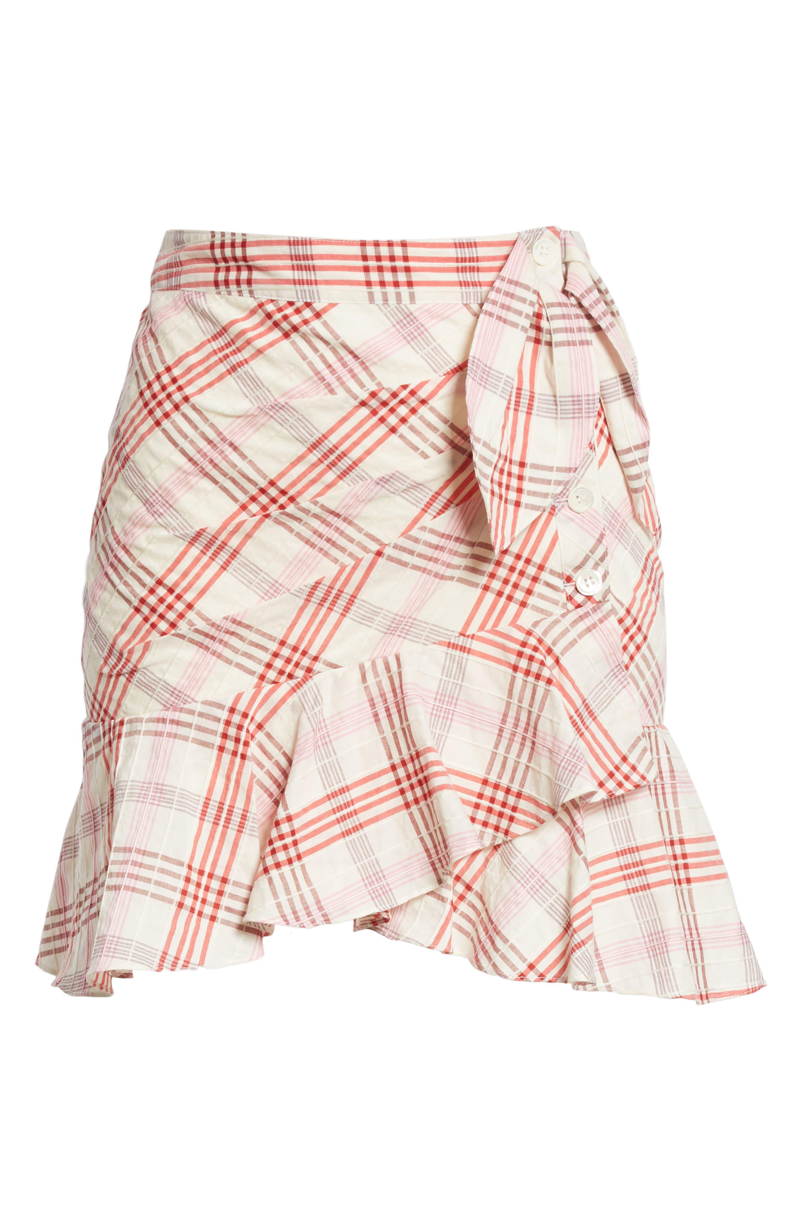 Kaia Check Ruffle Skirt,                             Alternate thumbnail 12, color,