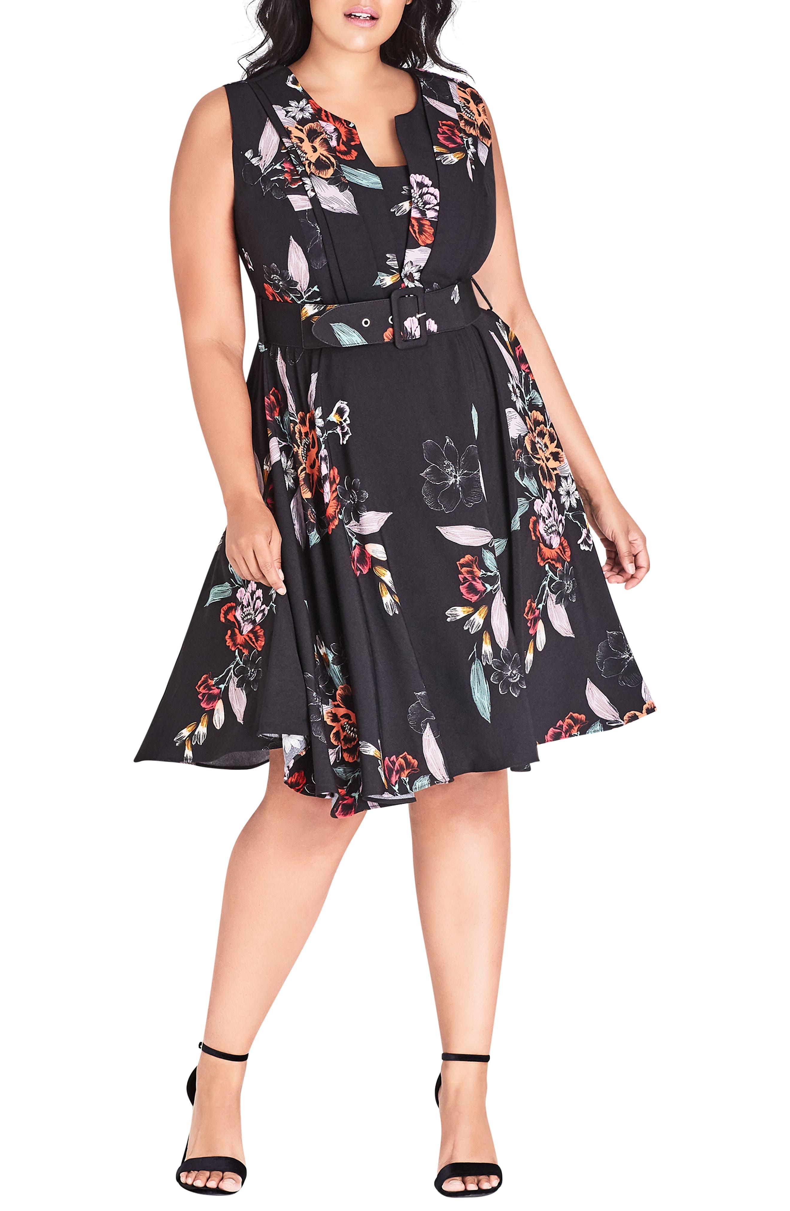 Plus Size City Chic Etch Bouquet Belted A-Line Dress, Black