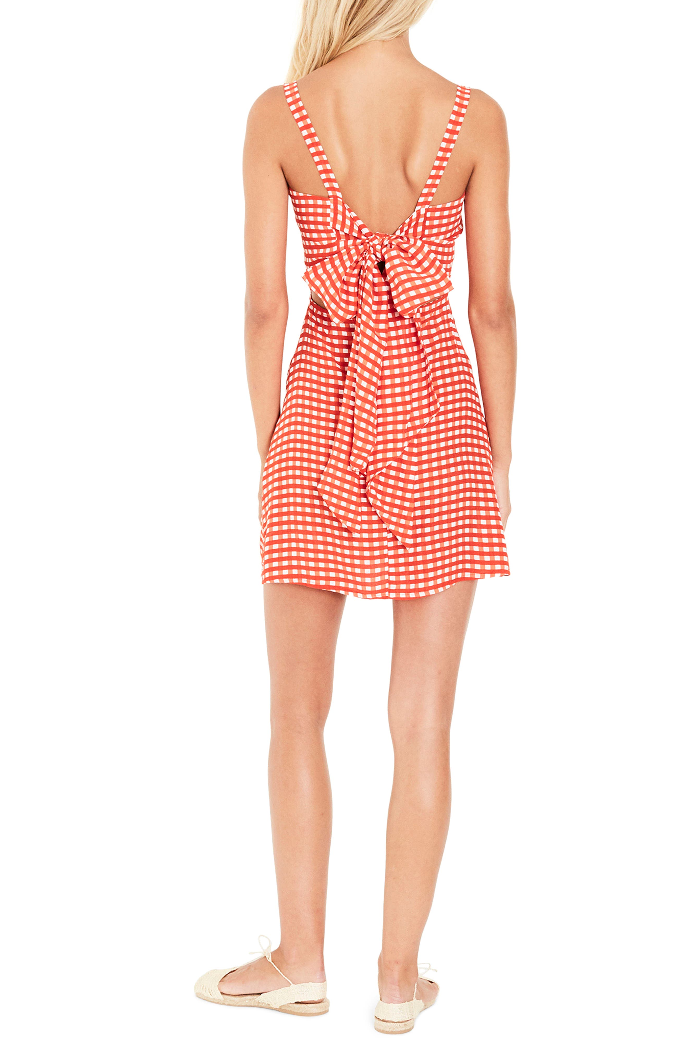 Ischia Gingham Tie Back Dress,                             Alternate thumbnail 2, color,                             KIVOTOS PRINT