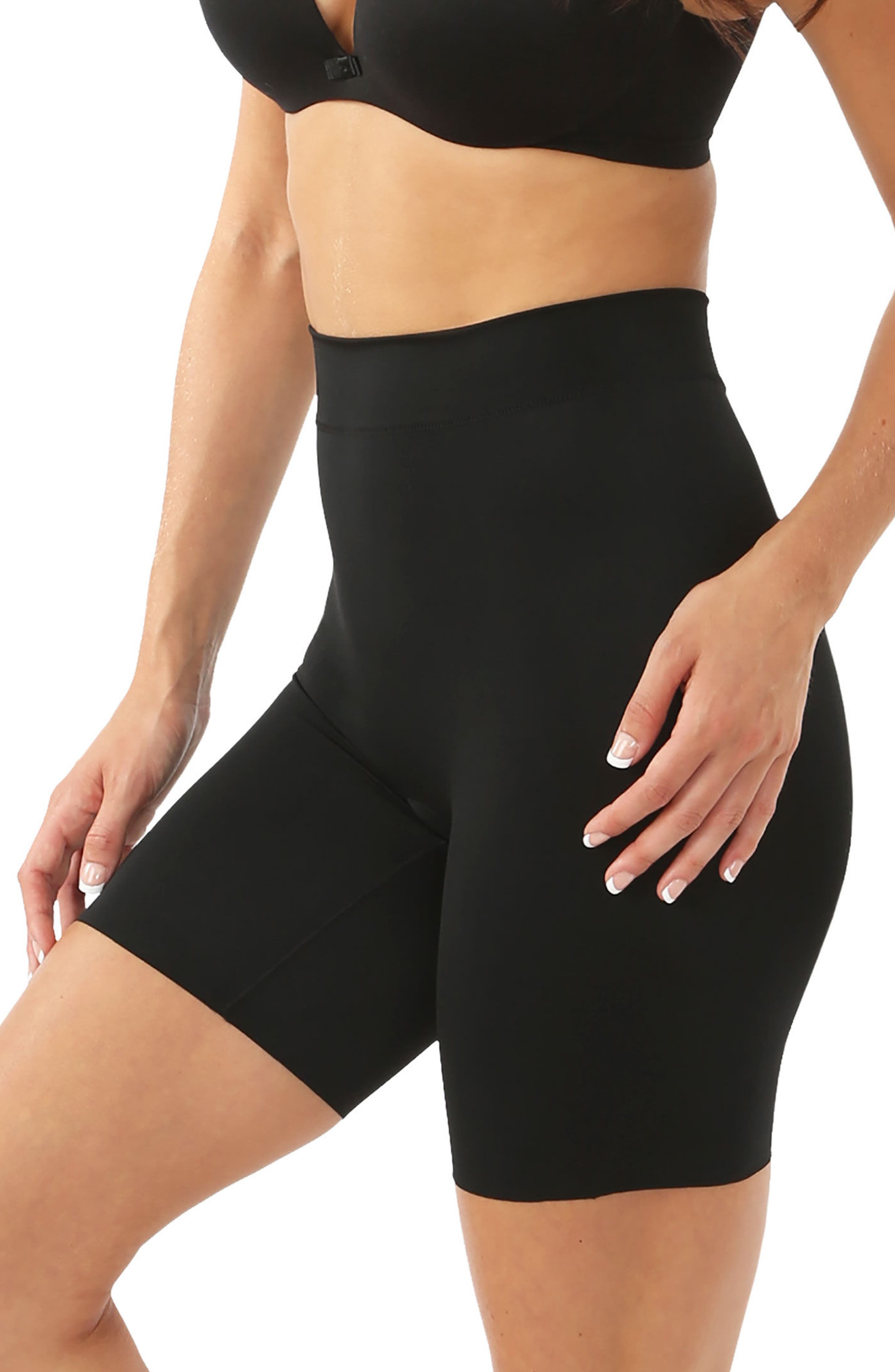 'Mother Tucker - Shortie' High Waist Compression Shorts,                             Alternate thumbnail 3, color,                             BLACK