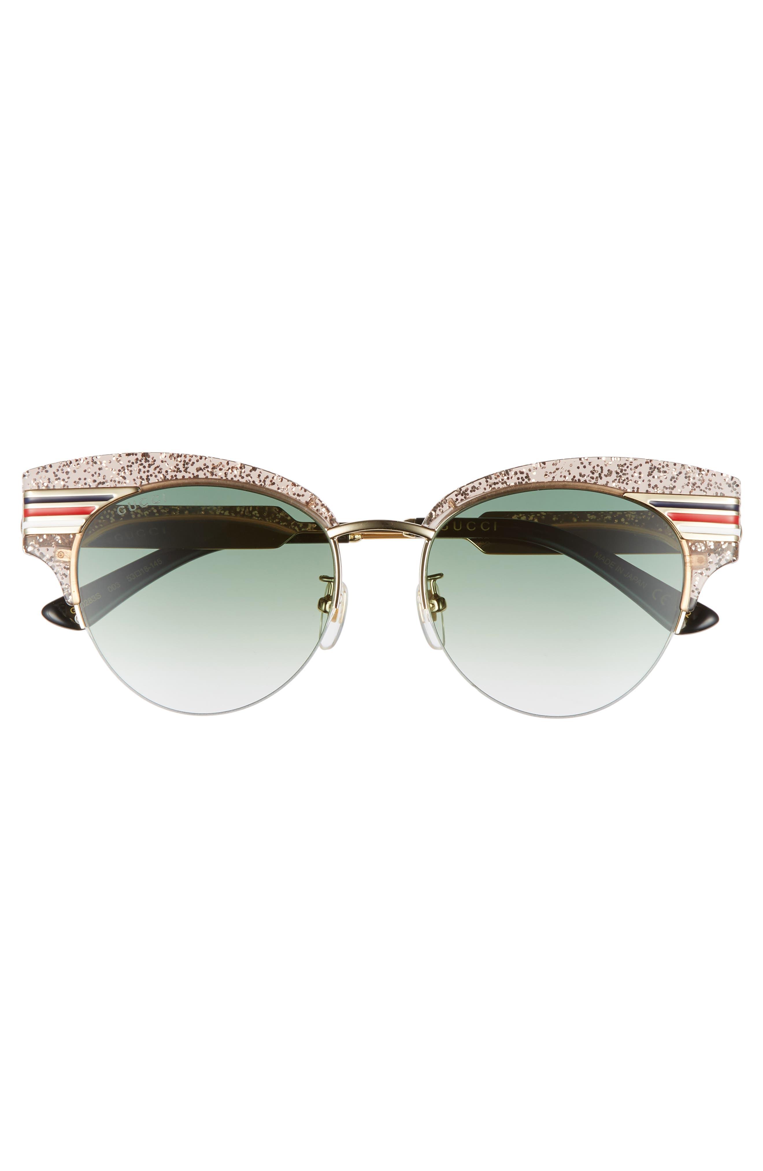 53mm Cat Eye Sunglasses,                             Alternate thumbnail 3, color,                             NUDE/ GOLD/ BLACK