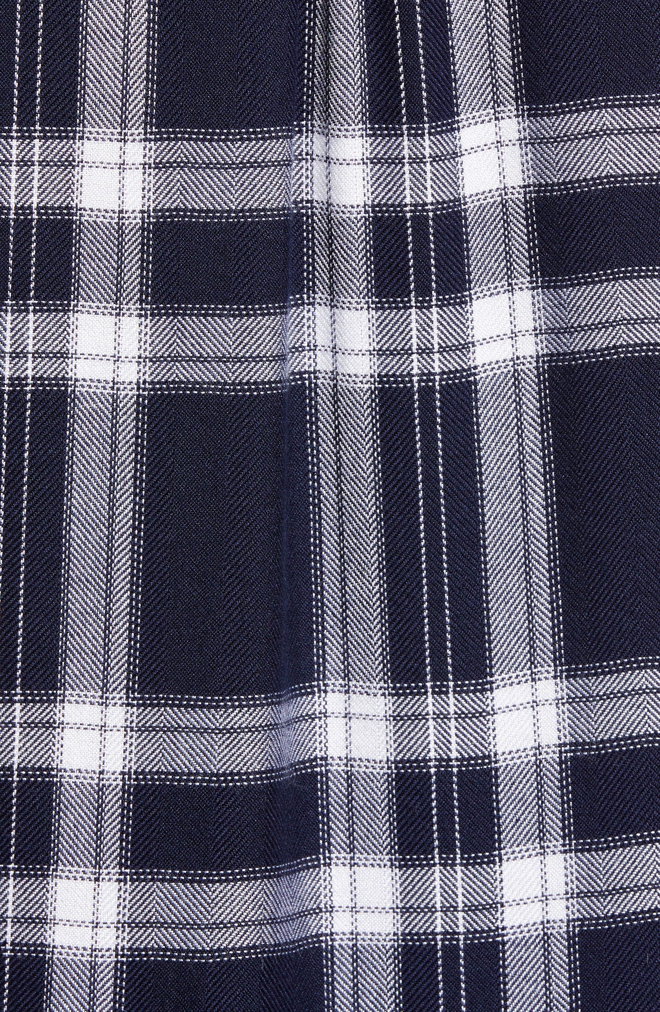 Liza Plaid Shirt,                             Alternate thumbnail 5, color,                             NAVY MIDNIGHT POWDER