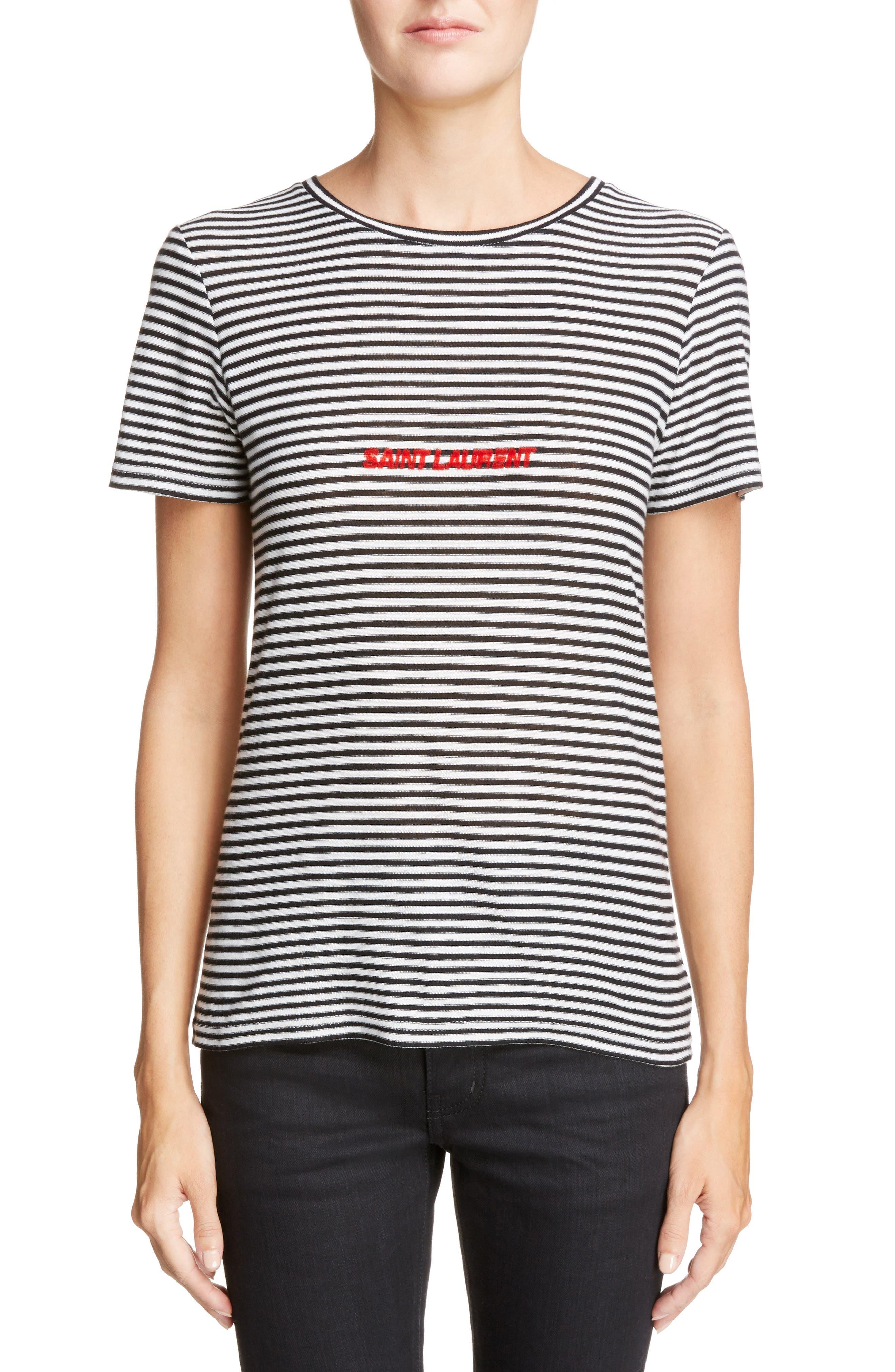 SAINT LAURENT Logo Stripe Tee, Main, color, NOIR/ NATUREL/ ROUGE
