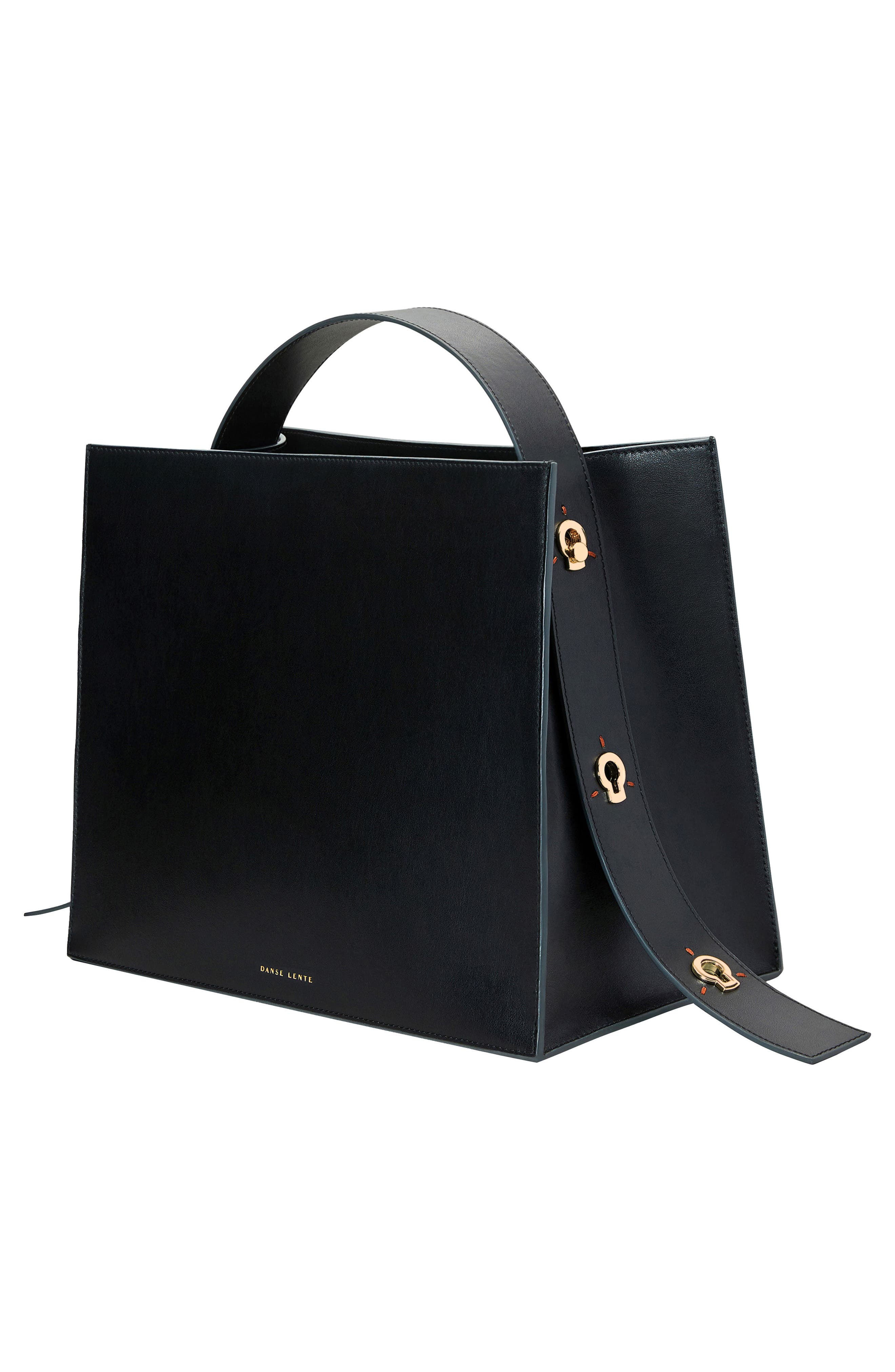 Young Leather Tote Bag,                             Alternate thumbnail 9, color,                             BLACK
