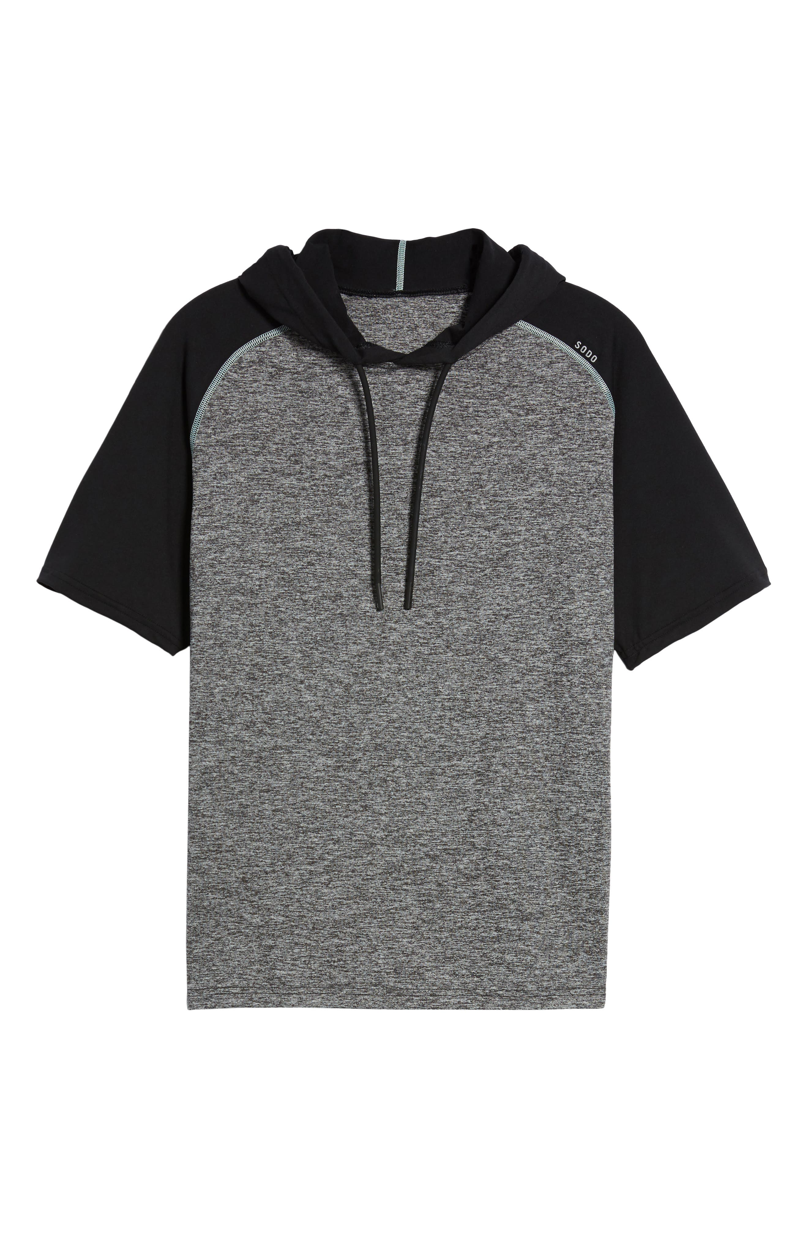 Quad Short Sleeve Hoodie,                             Alternate thumbnail 6, color,                             HEATHER BLACK/ BLACK/ MINT