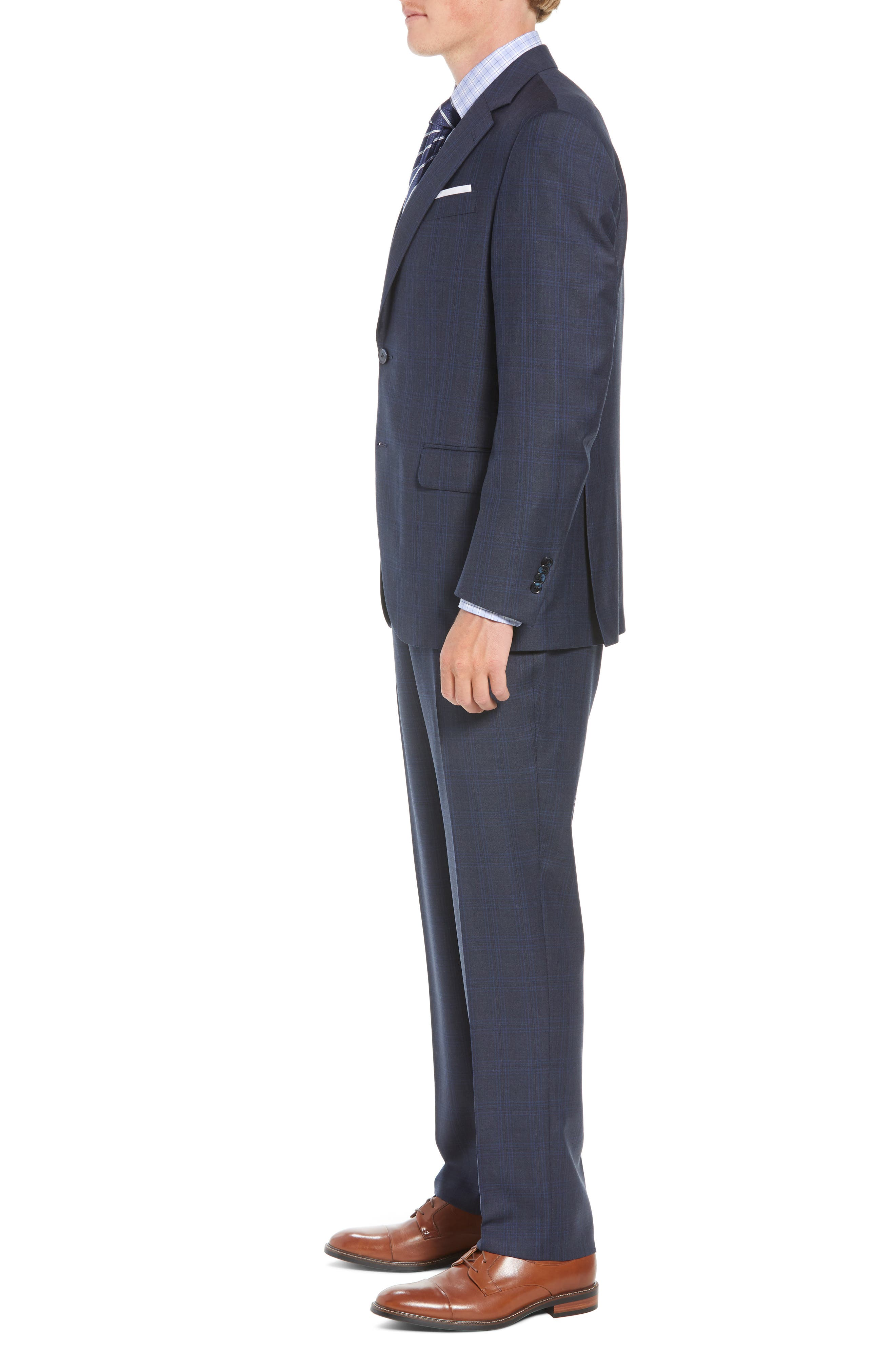 Flynn Classic Fit Plaid Wool Suit,                             Alternate thumbnail 3, color,                             NAVY