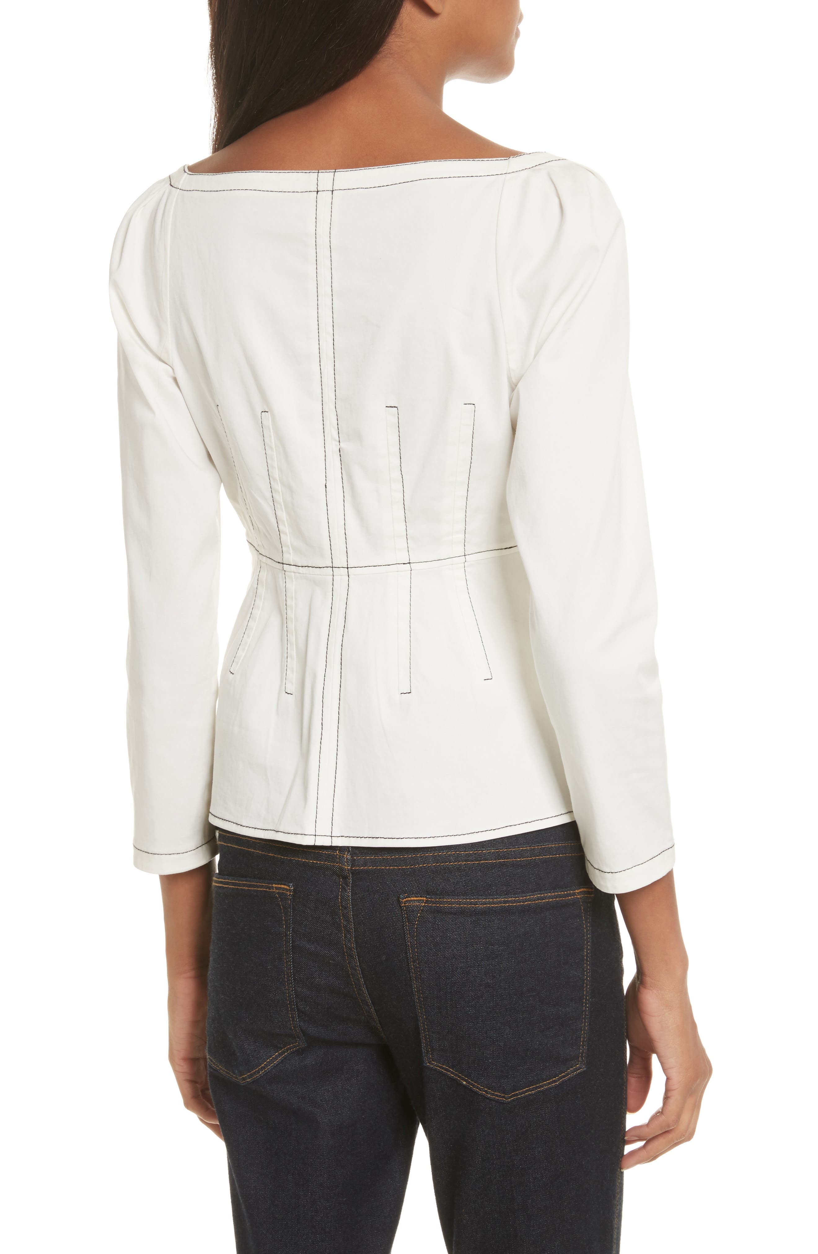 Structured Twill Top,                             Alternate thumbnail 2, color,