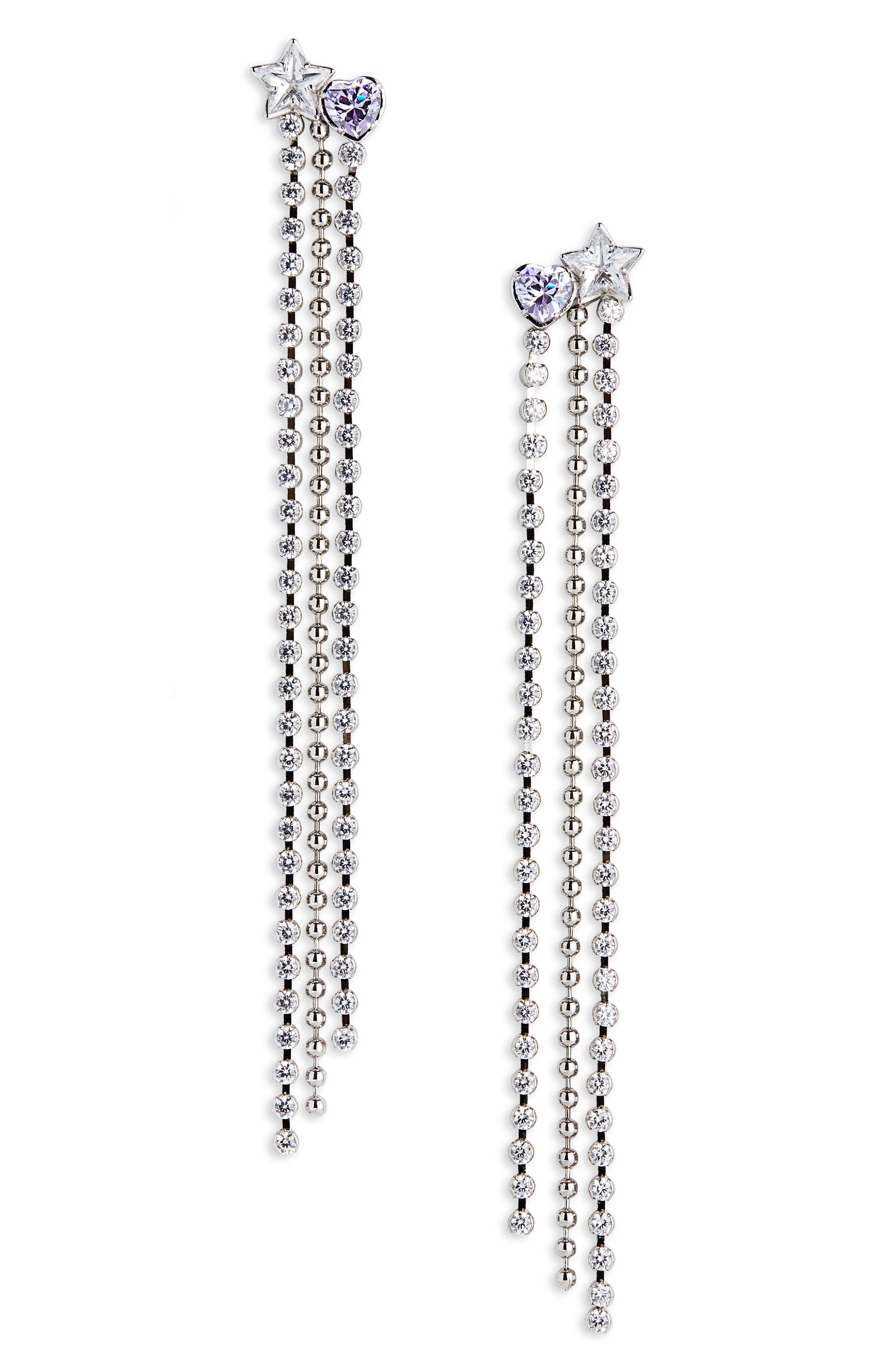 JIWINAIA Celeste Drop Earrings in Rhodium Brass