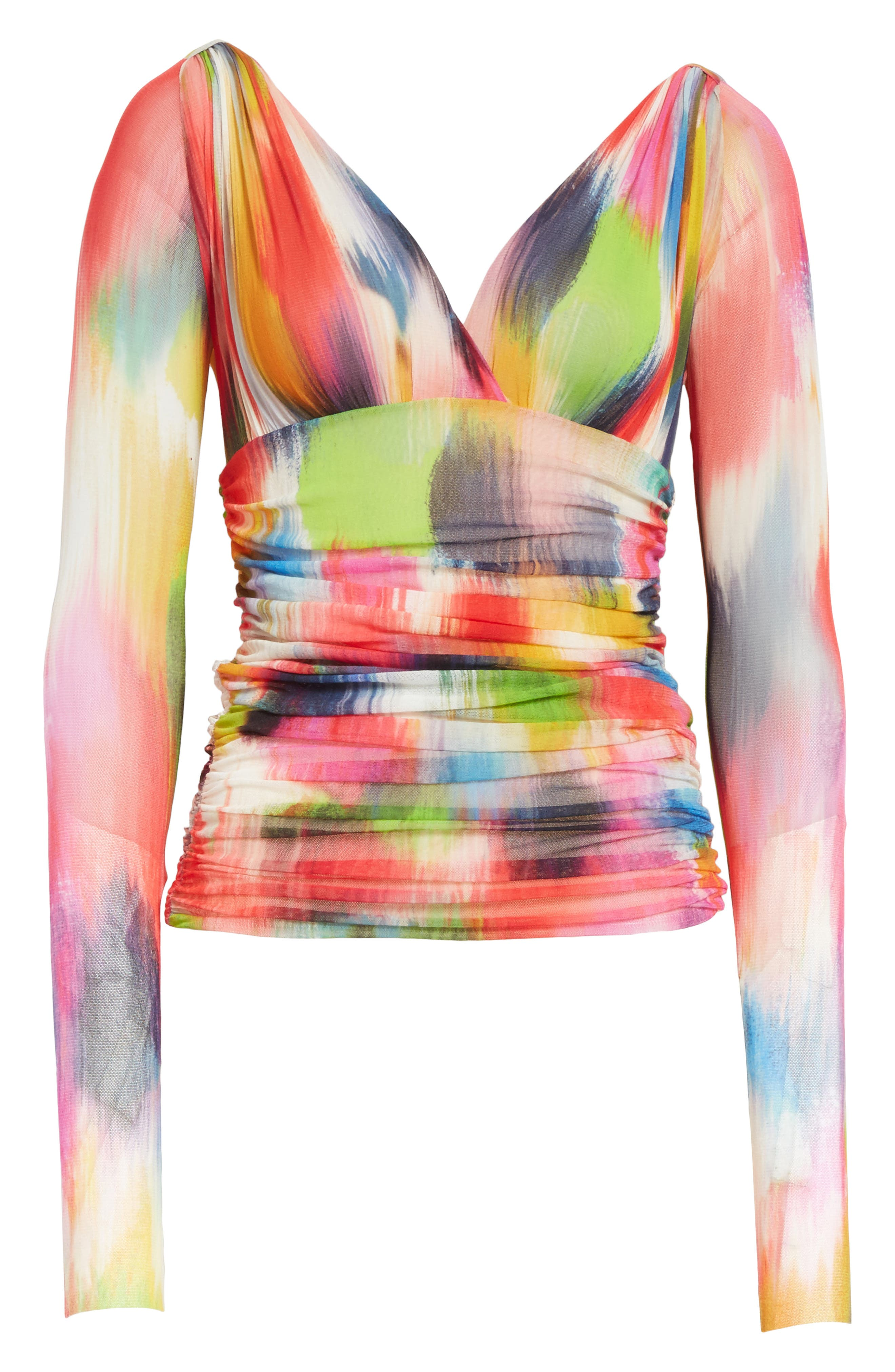 Brushstroke Print Ruched Tulle Top,                             Alternate thumbnail 7, color,