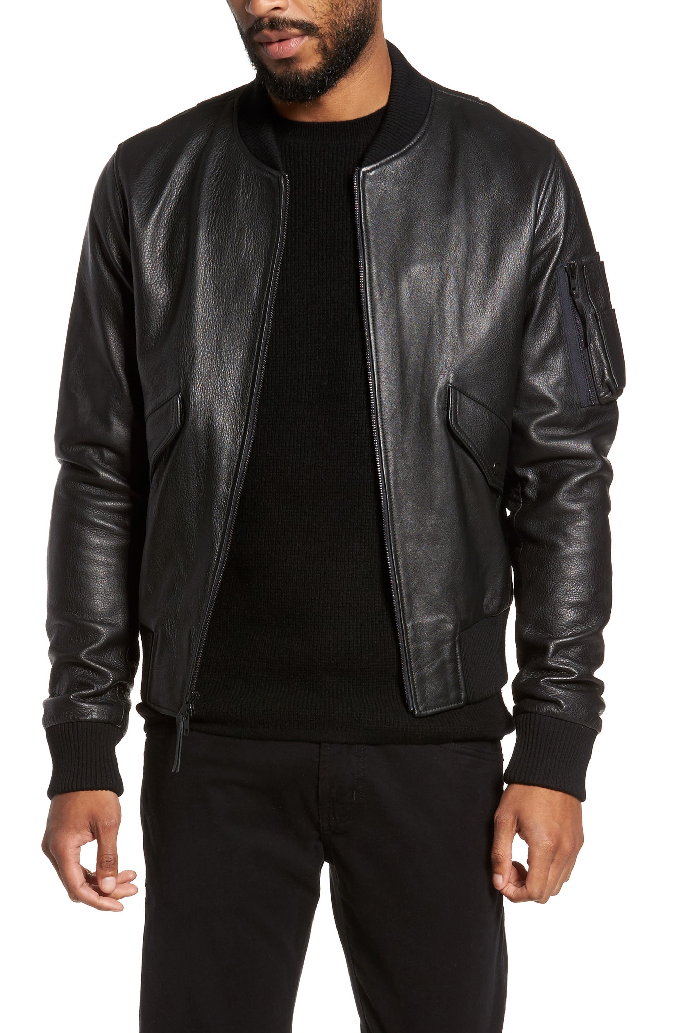 Lambskin Bomber Jacket,                         Main,                         color, 001