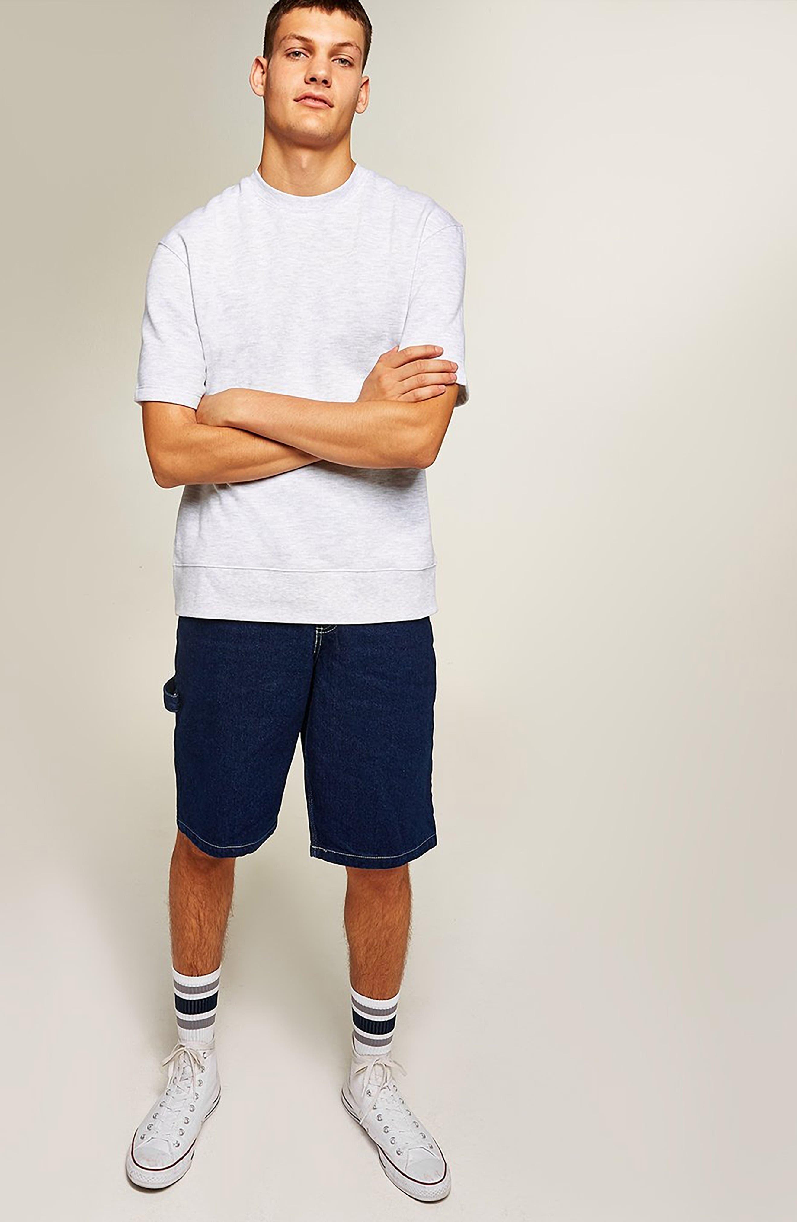 Short Sleeve Crewneck Sweatshirt,                             Alternate thumbnail 5, color,                             LIGHT GREY