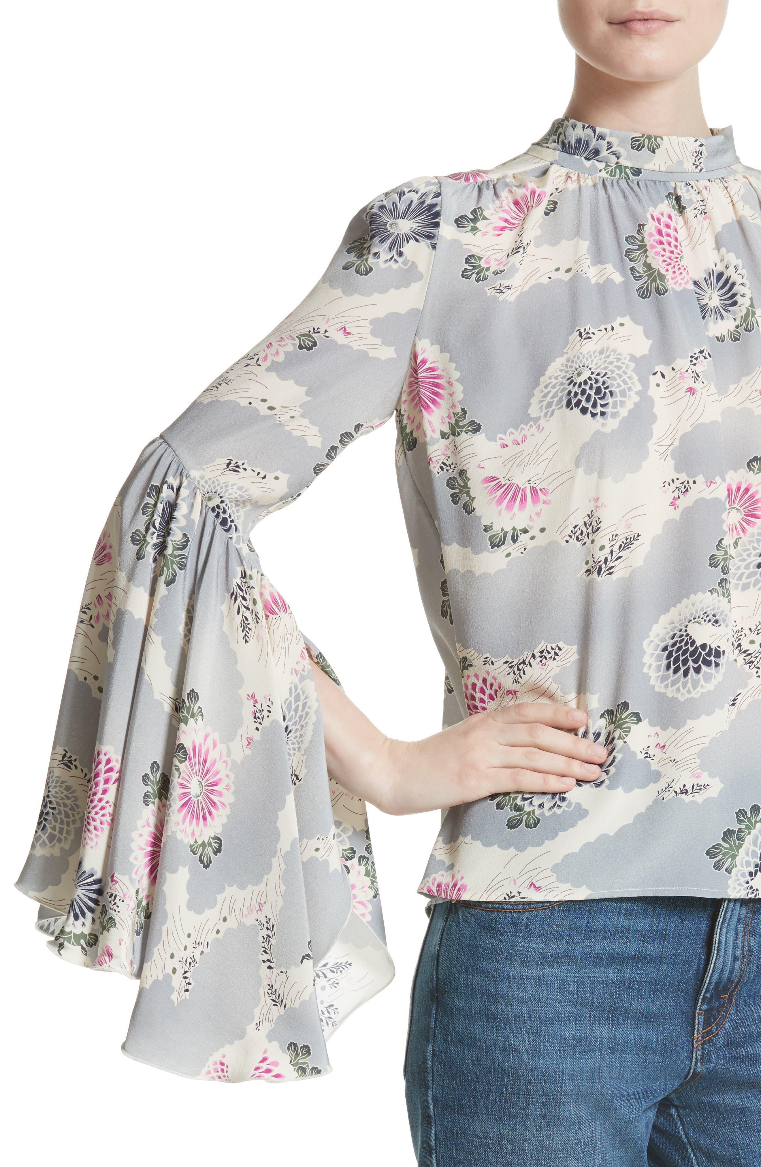 Flutter Sleeve Floral Print Silk Blouse,                             Alternate thumbnail 4, color,                             020