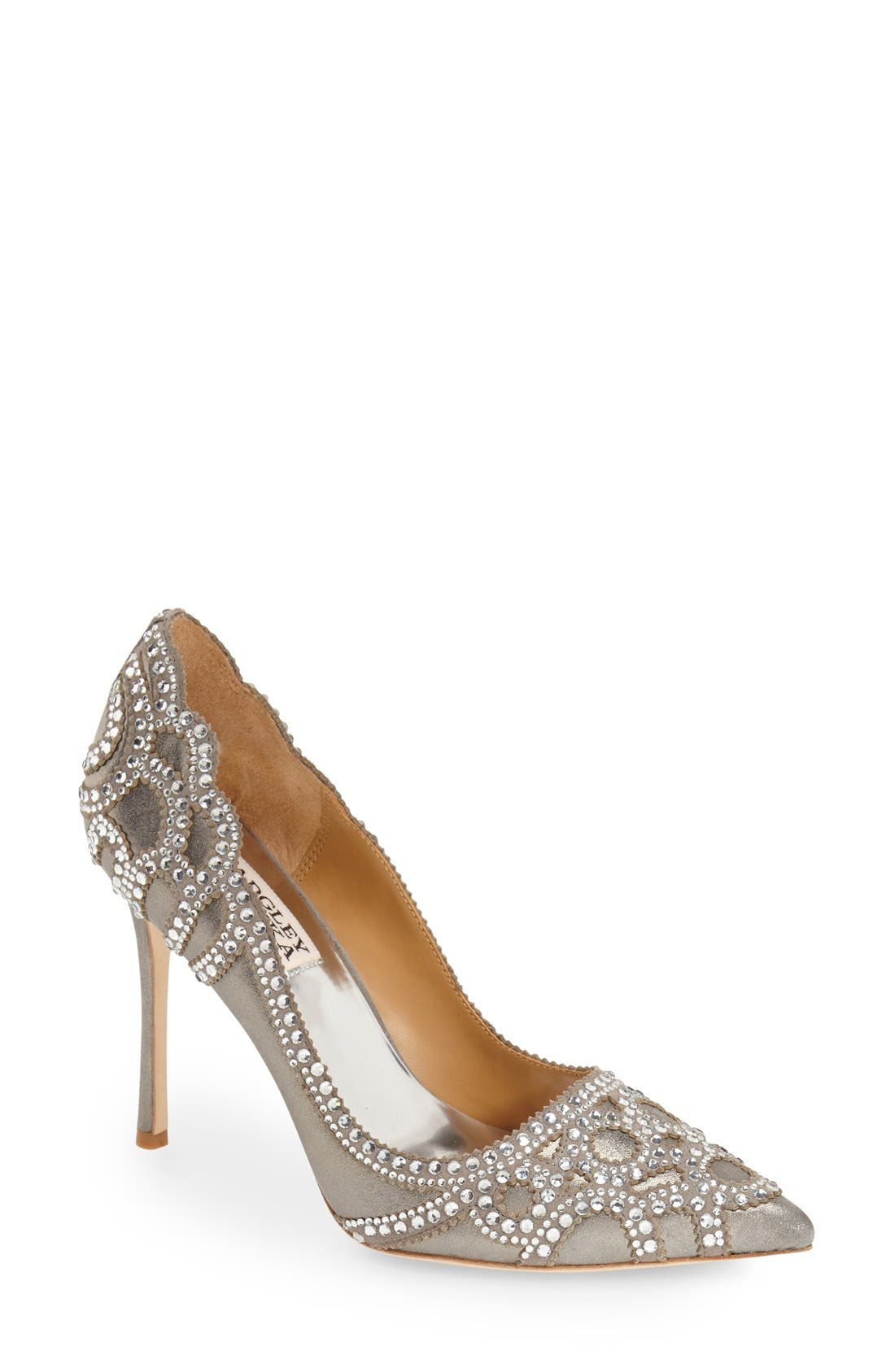 Badgley Mischka 'Rouge II' Crystal Pointy Toe Pump,                             Main thumbnail 1, color,                             040