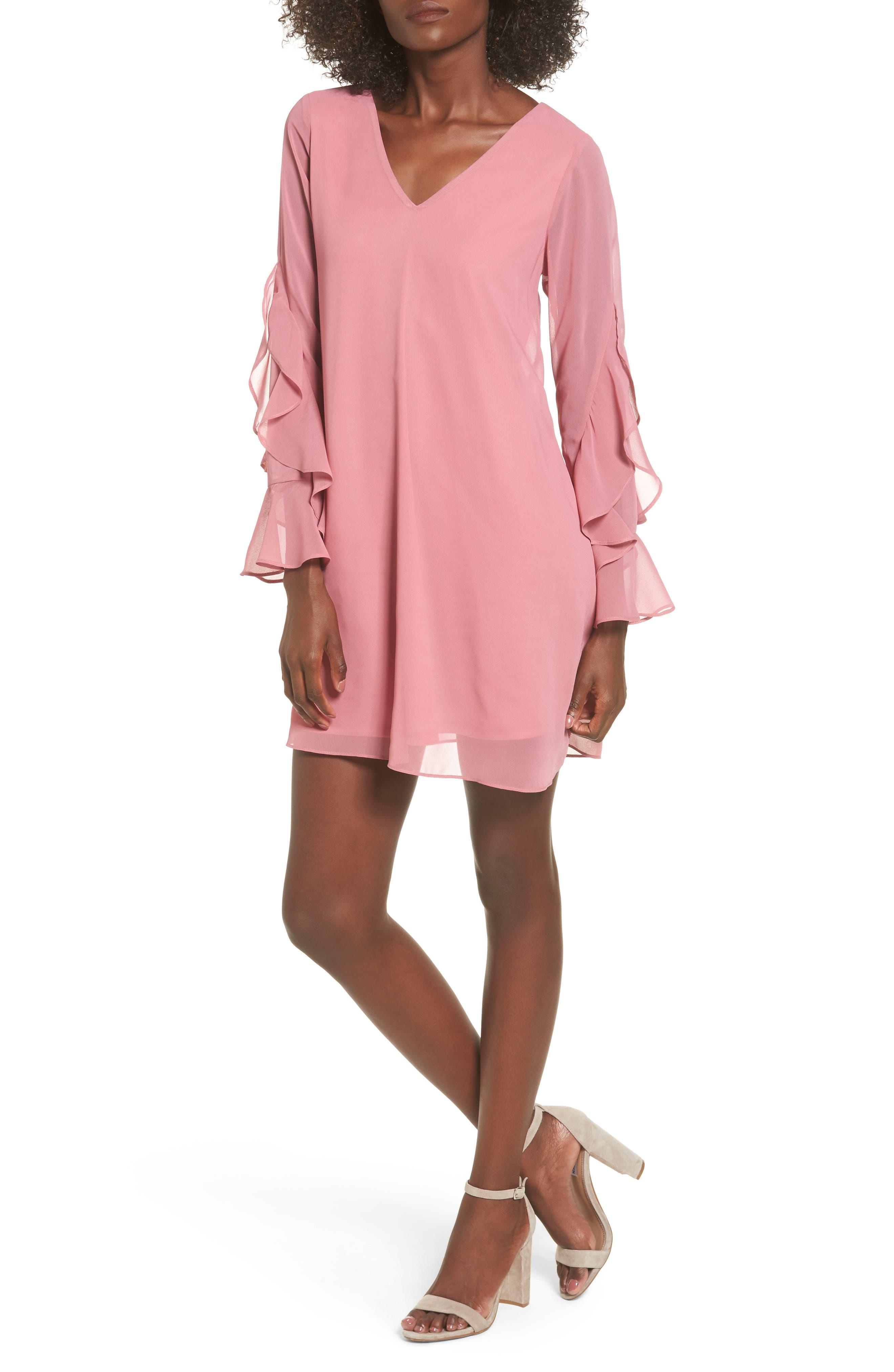 Ruffle Sleeve Shift Dress,                             Main thumbnail 3, color,