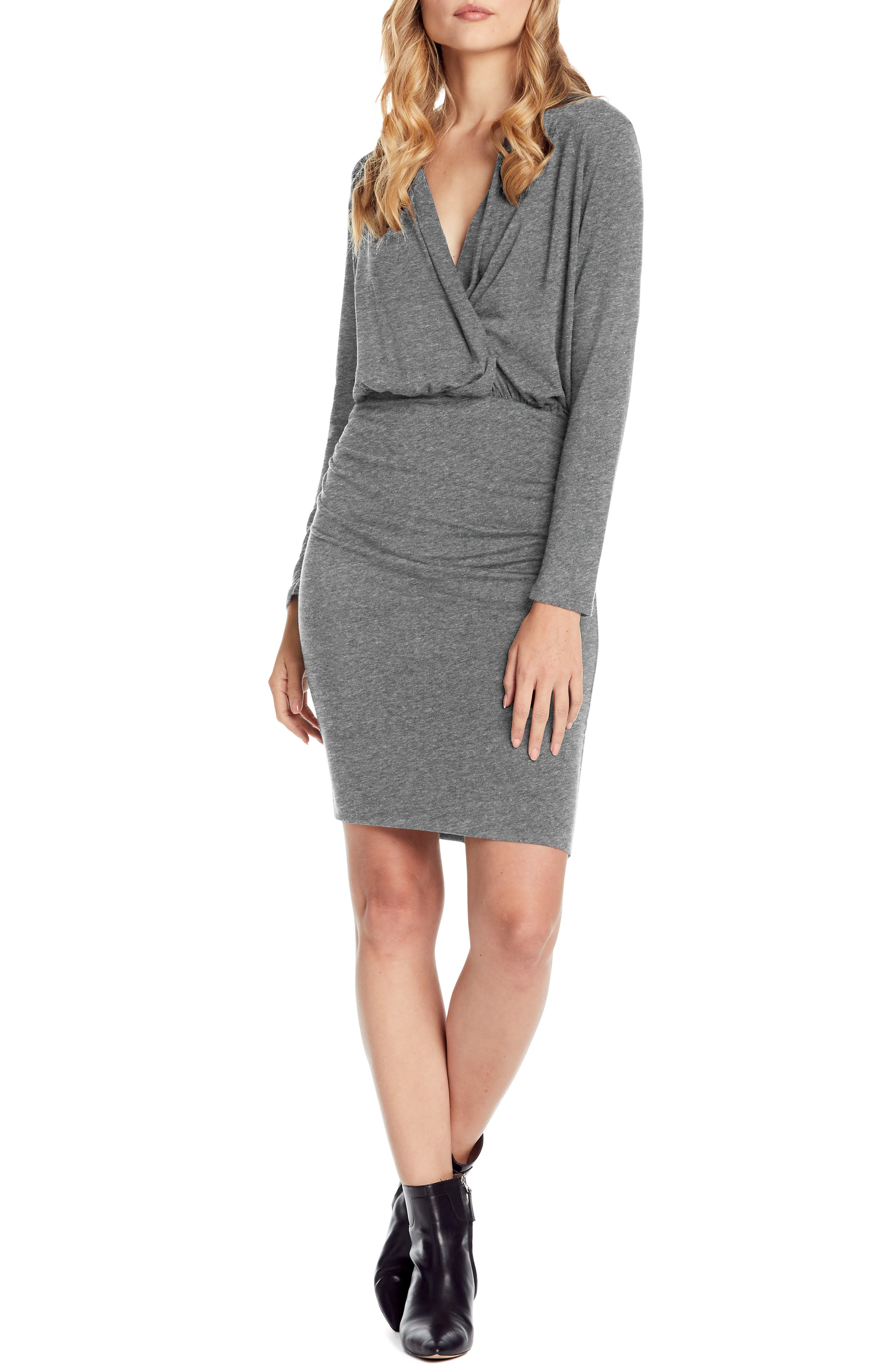 Michael Stars Jules Cross Front Stretch Jersey Dress, Grey